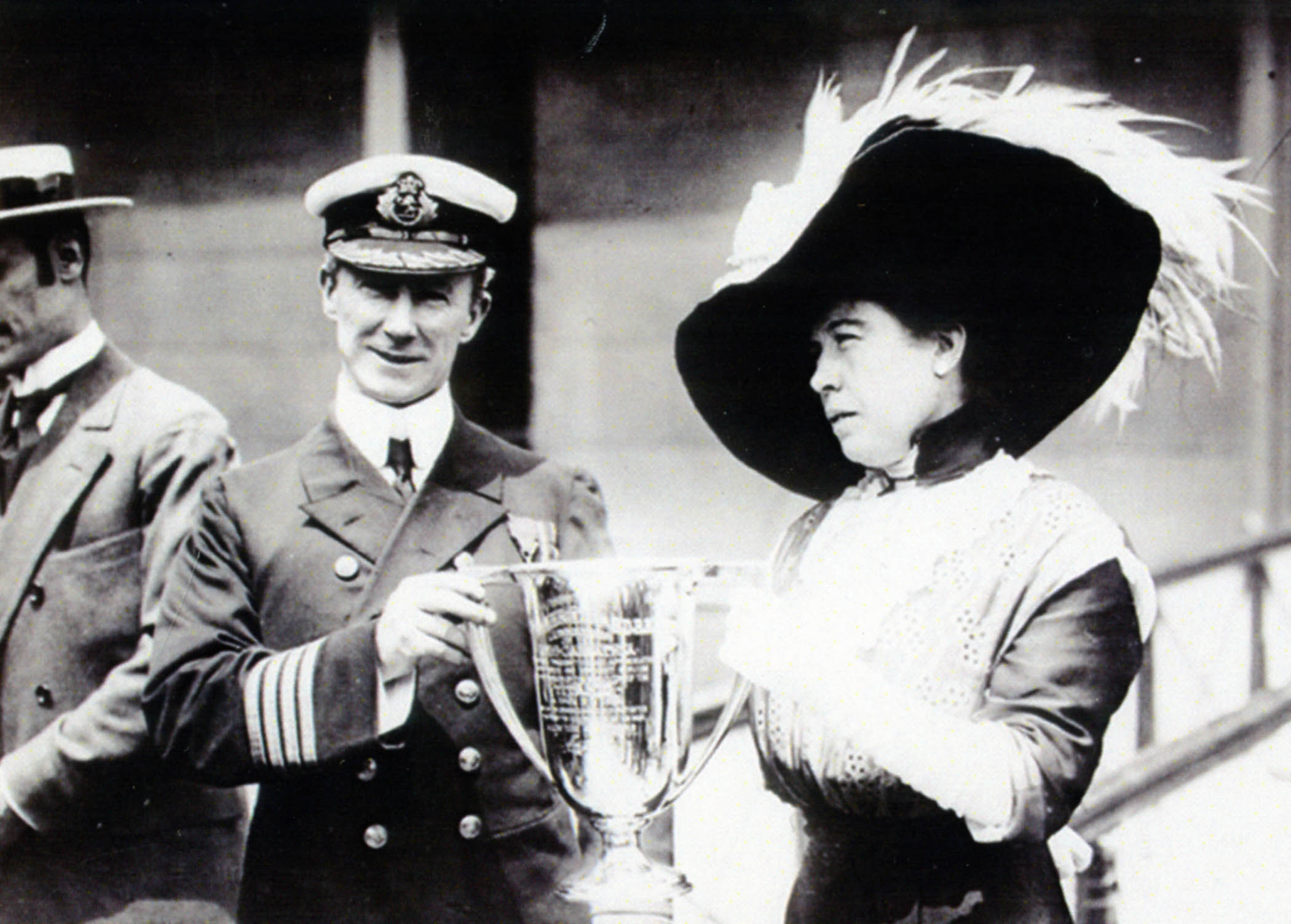 The cup being presented by Titanic survivor Margaret Brown to the captain of rescue ship Carpathia (Titanic Museum Branson, USA/PA Wire)