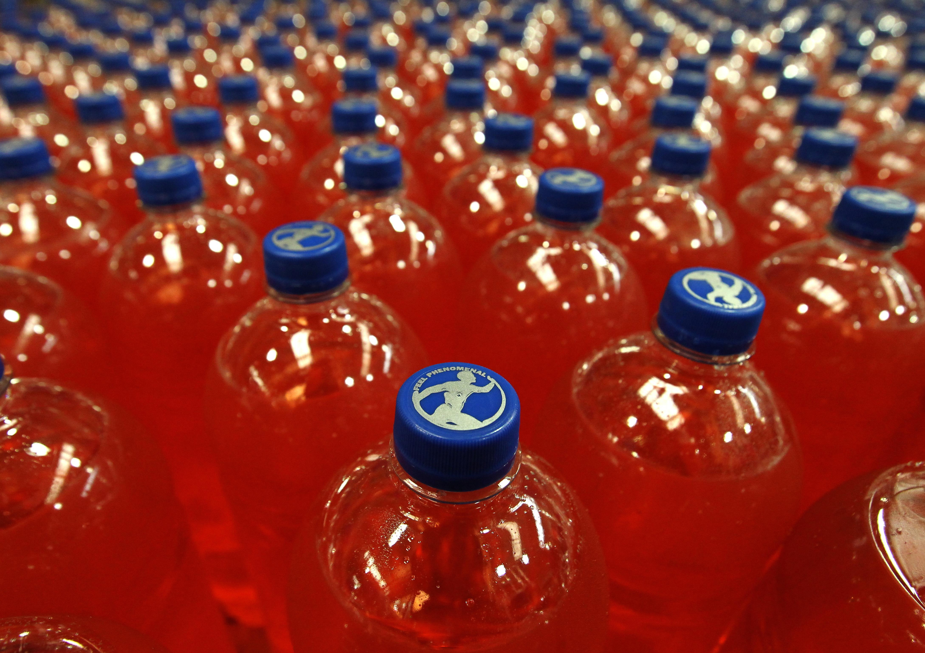 Bottles of Irn Bru in the production hall at AG Barr's Irn Bru factory in Cumbernauld