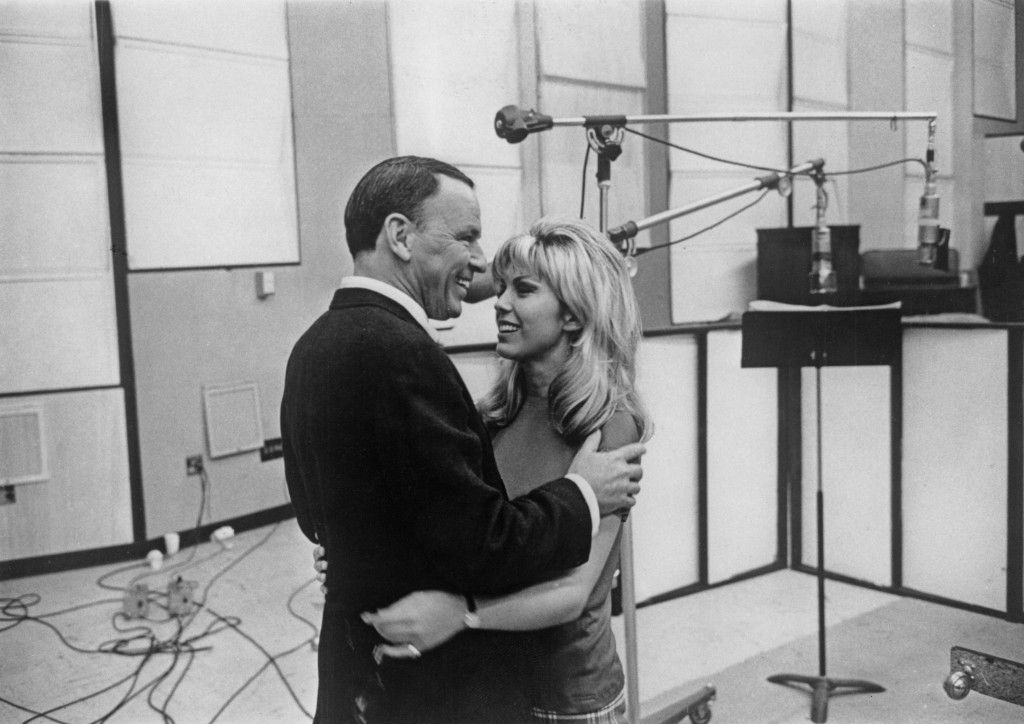 Frank Sinatra with his daughter Nancy Sinatra at their first joint recording session. (Keystone Features/Getty Images)
