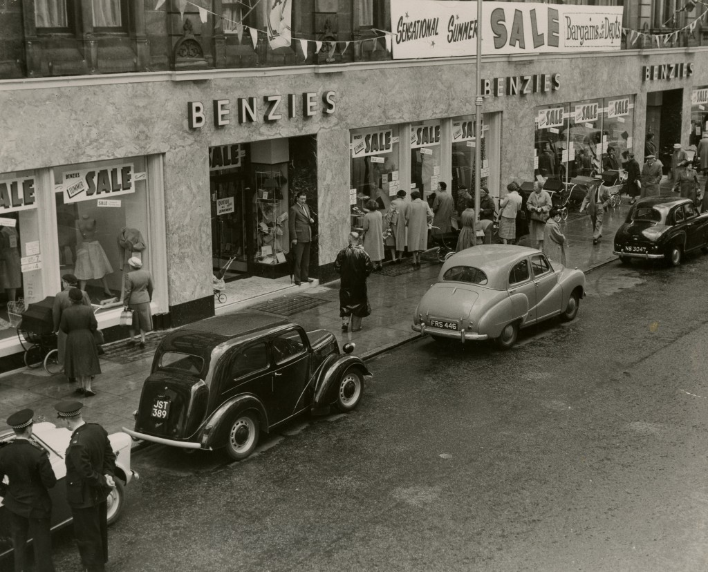 A scene outside Benzie's Stores Inverness during the annual summer sales.