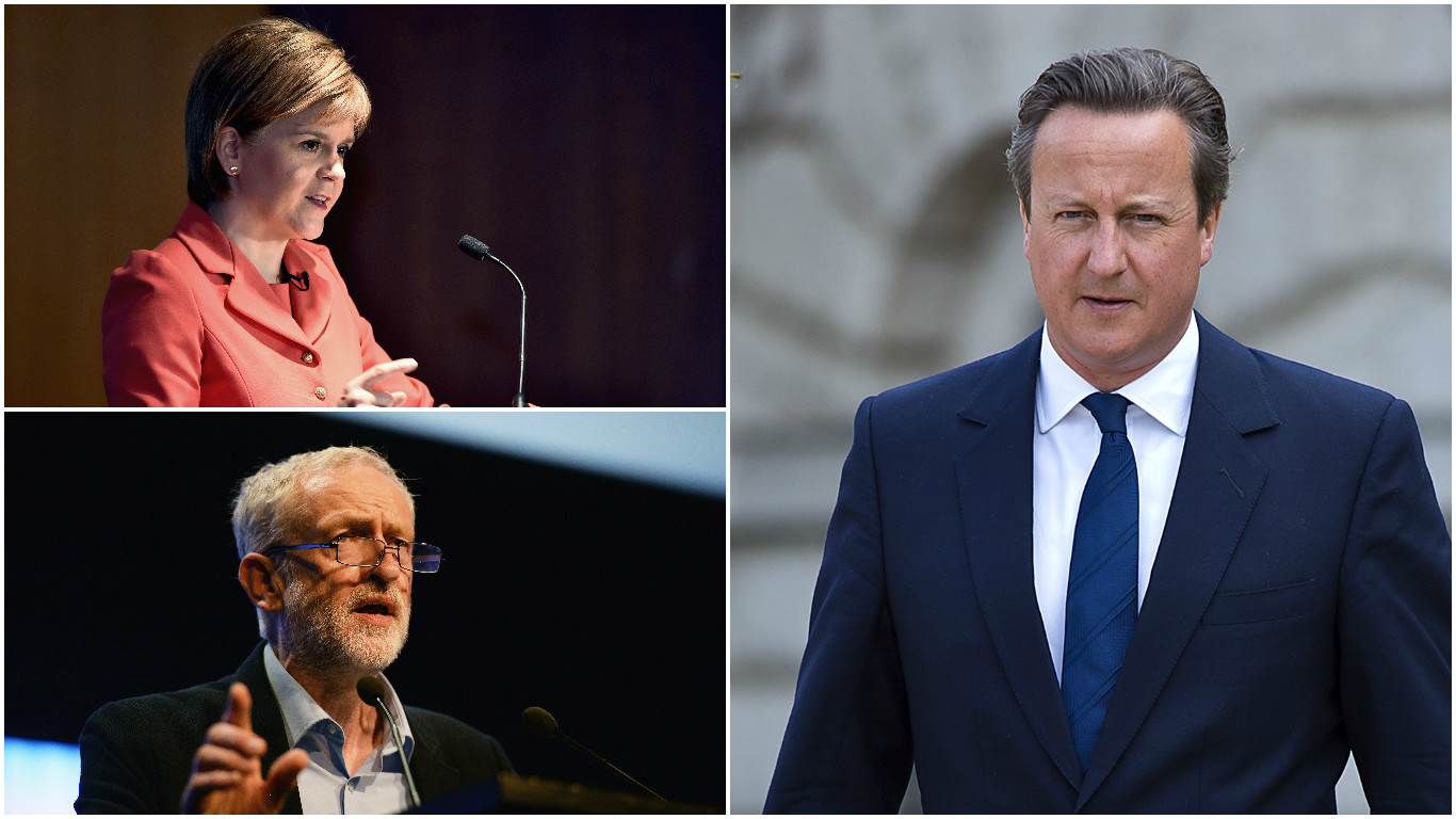 Party leaders Sturgeon, Corbyn and Cameron (Getty Images)
