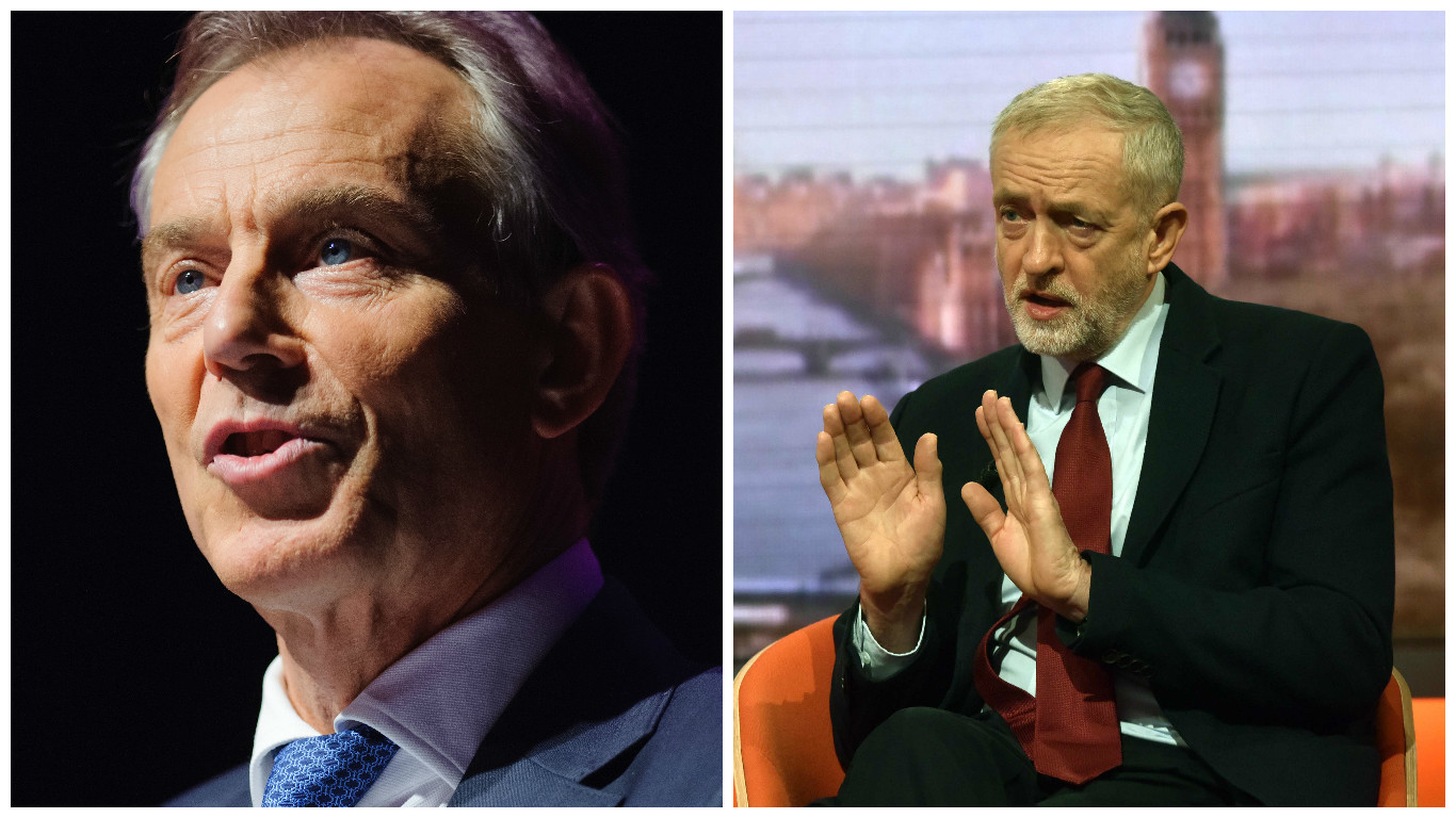 Tony Blair hit out at Labour under Corbyn (R) (Dominic Lipinski / PA & BBC)