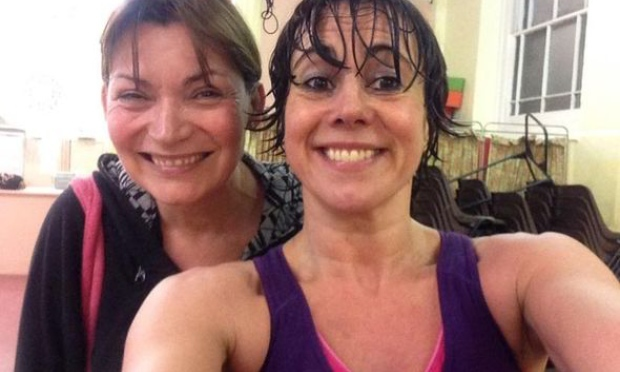 Maxine Jones and Lorraine Kelly have fun as keep-fit partners.