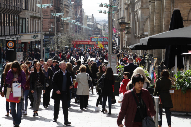 Buchanan Street in Glasgow city centre, Scotland, UK