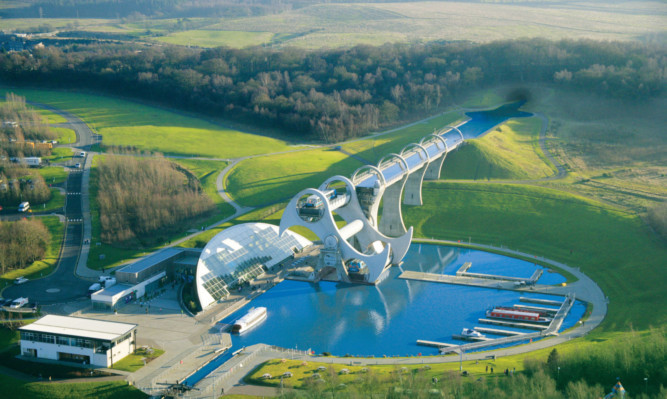 Aerial view of the Falkirk Wheel