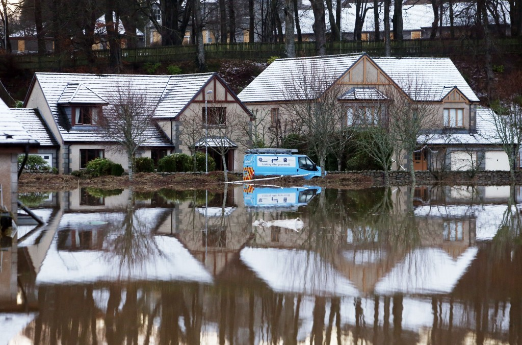 Flooded houses at Port Elphinstone, near Aberdeen (Danny Lawson/PA Wire)