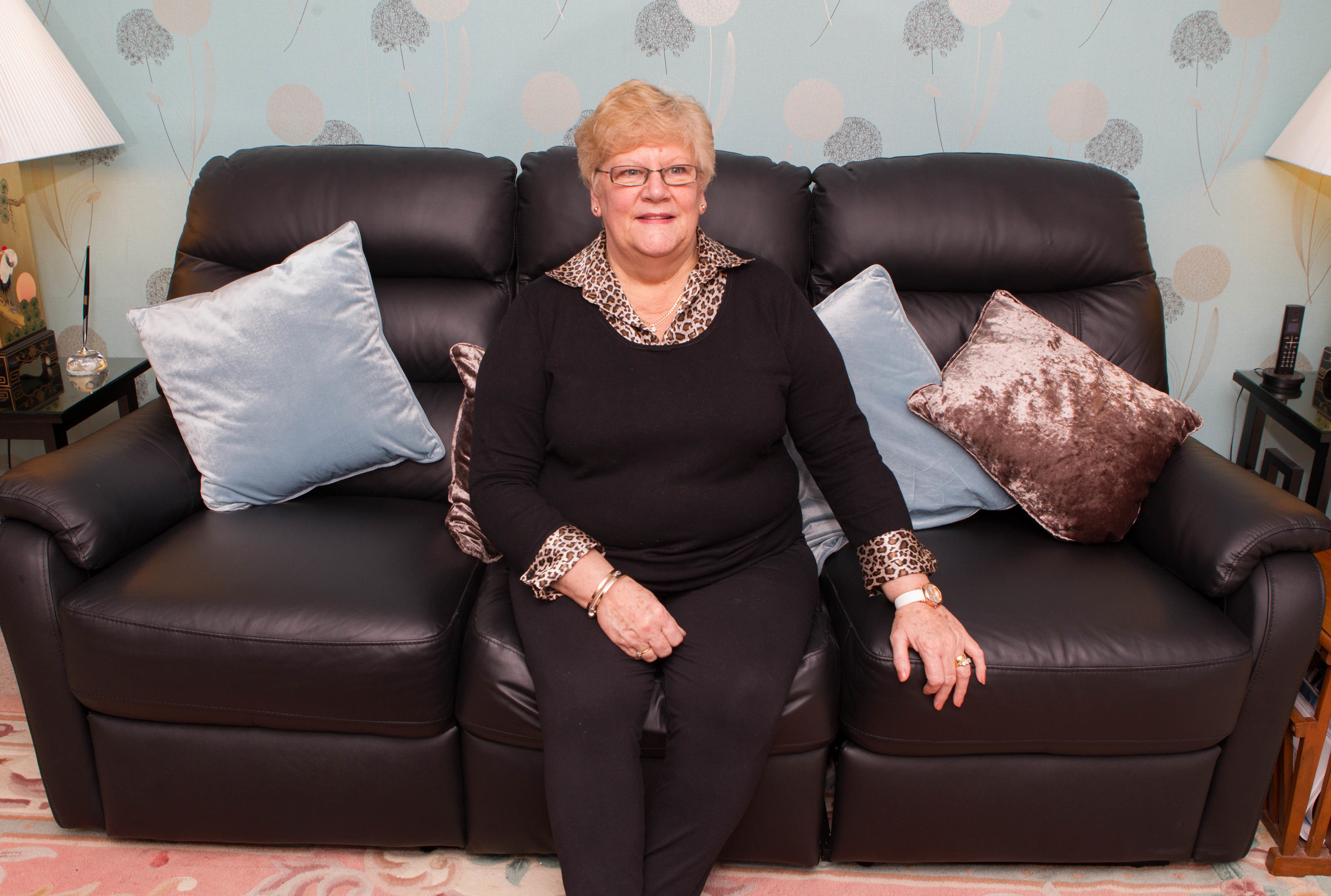 Janette Morrison with her new sofa thank to Raw Deal (Chris Austin / DC Thomson)