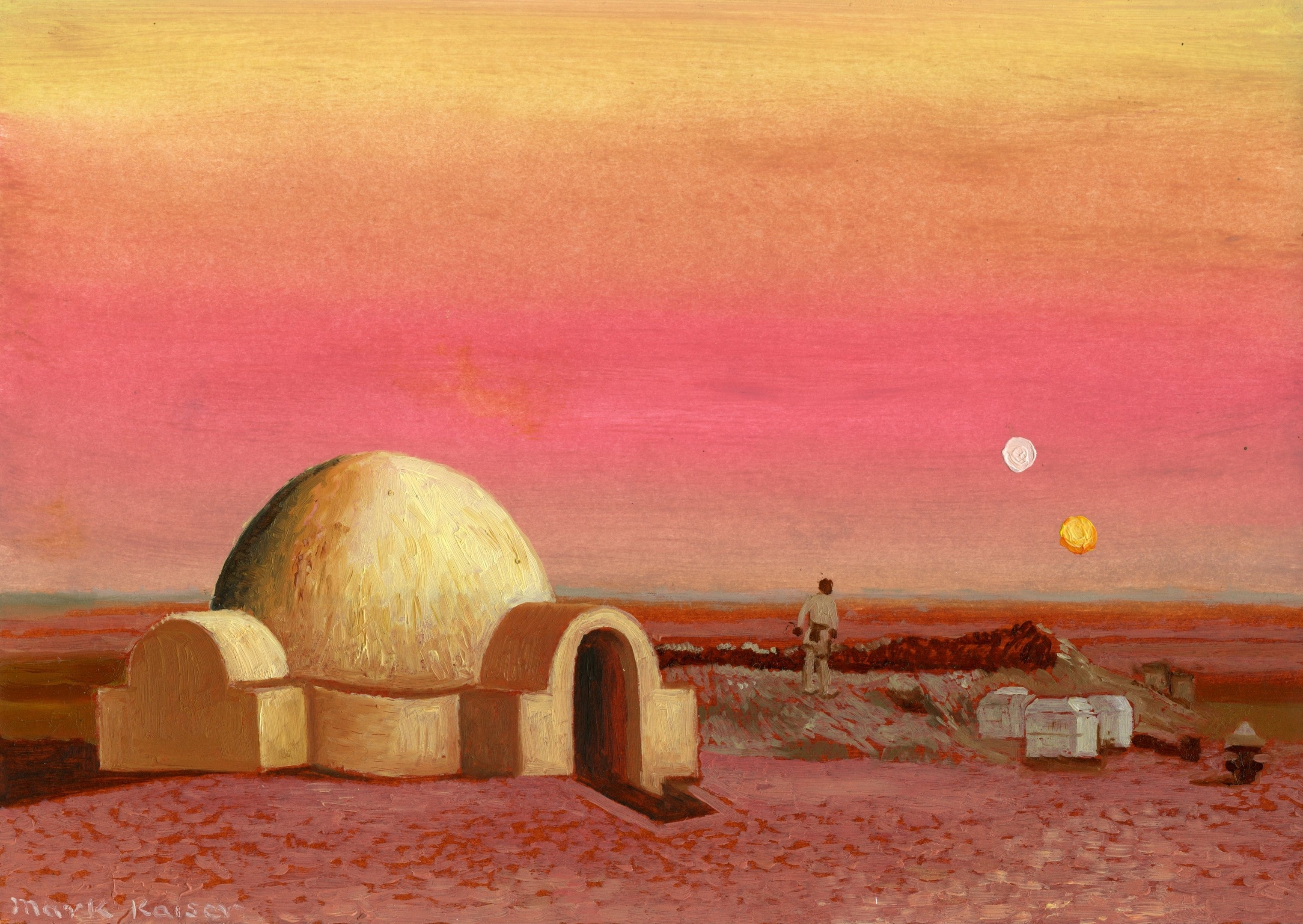 "Artist Mark Kaiser added a touch of class with his Star Wars-themed ""doodle""."