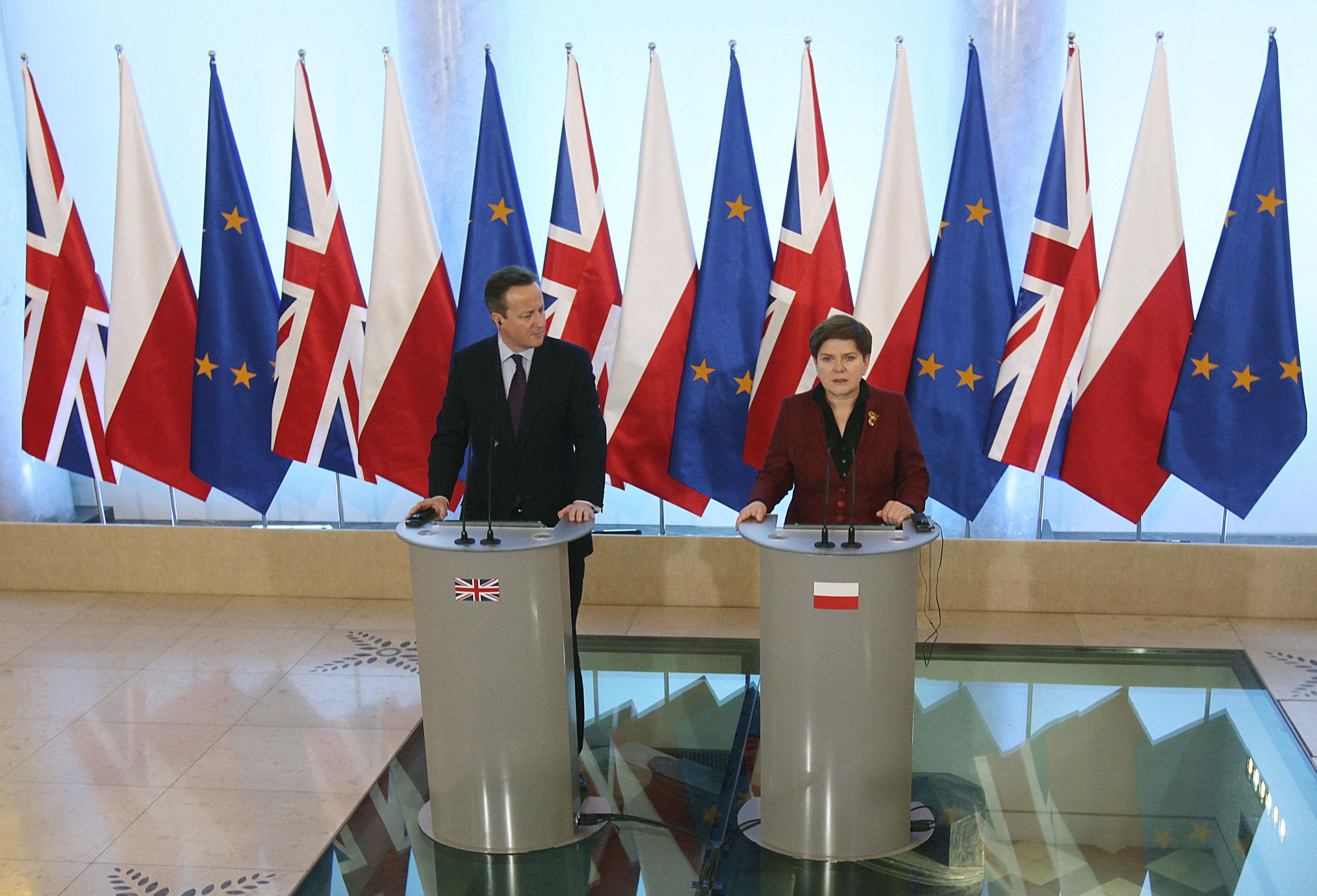 Polish Prime Minister Beata Szydlo, right, and David Cameron (AP Photo/Czarek Sokolowski)