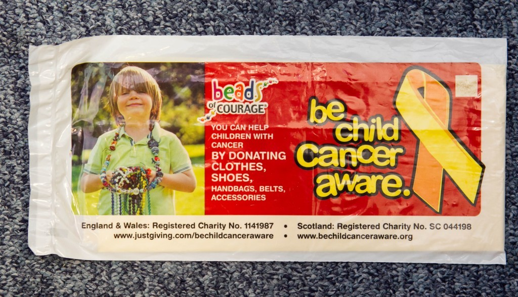 05/02/16 Sunday Post Glasgow Charity bags worse offenders. Pic shows: Be child cancer aware