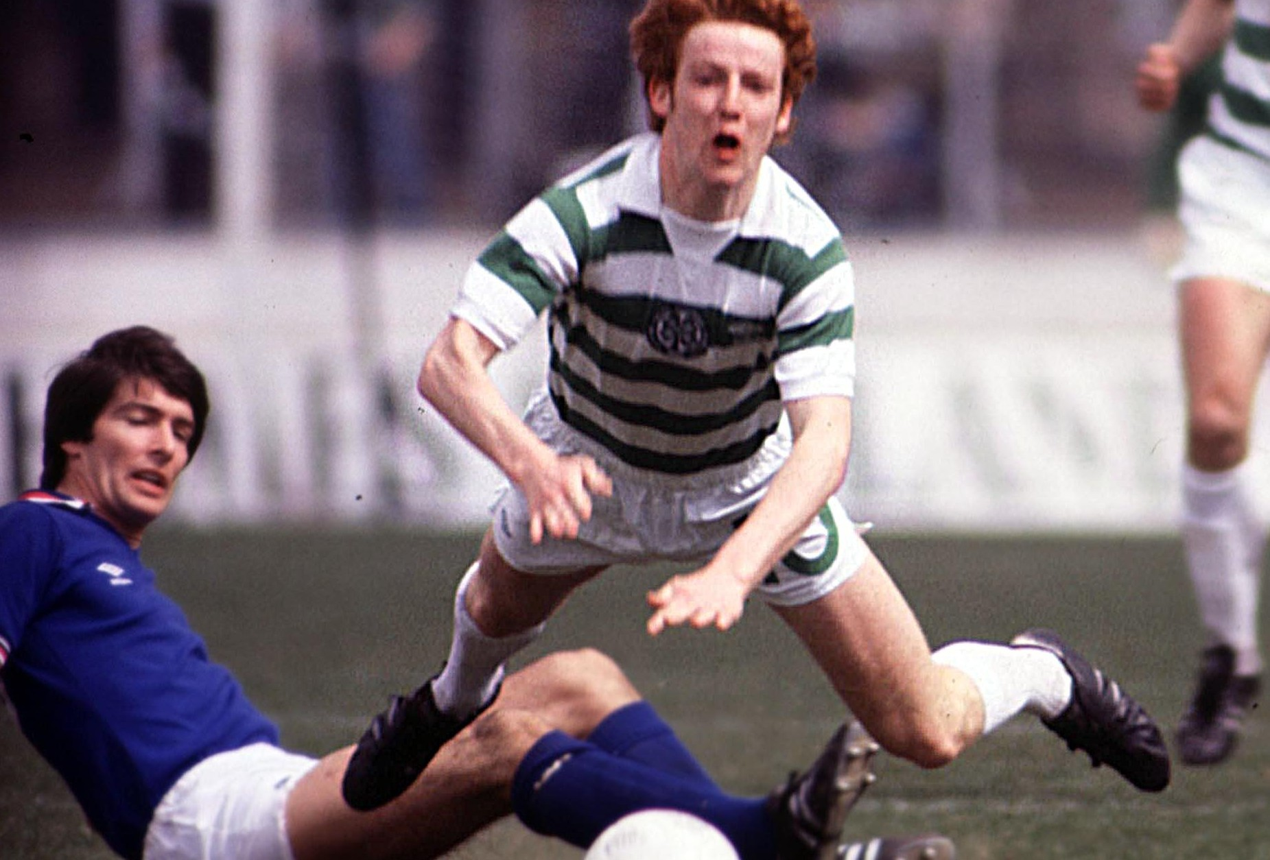 Gordon Smith of Rangers tackles Celtic'sTommy Burns, 1979 (SNS Group)