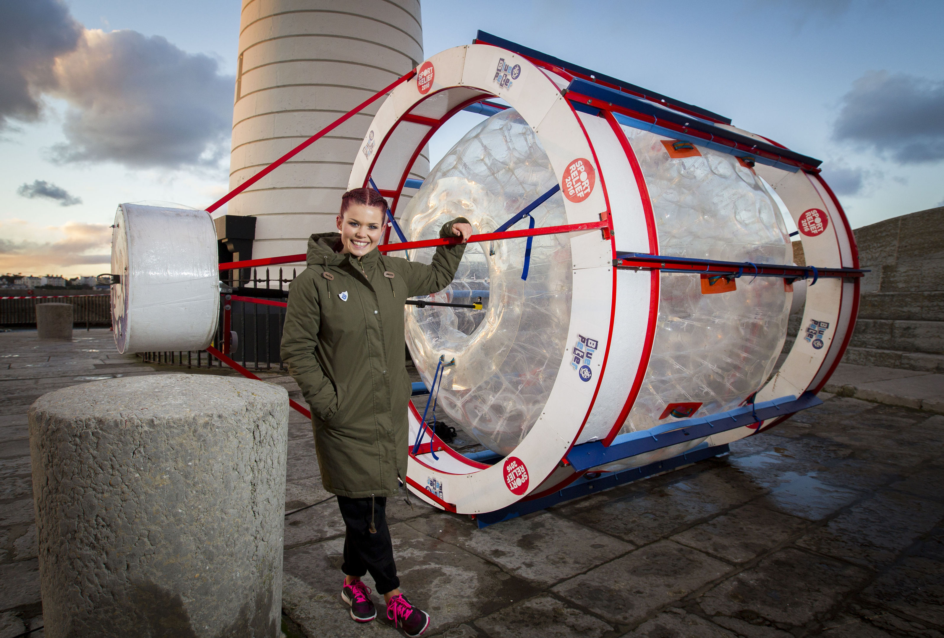 Lindsey Russell is crossing the Irish Sea for Sport Relief 2016 in this 'zorb' (Liam McBurney/ PA)