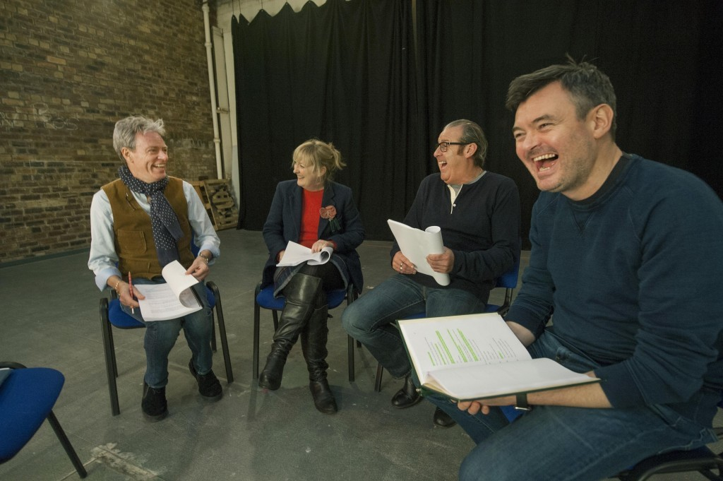 The Canned Laughter cast rehearsing (Douglas Robertson)