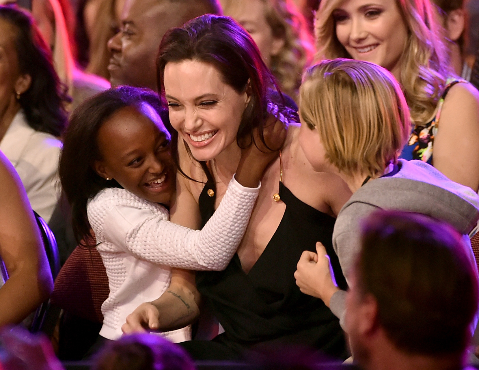 Angelina Jolie with two of her children (Kevin Winter/Getty Images)