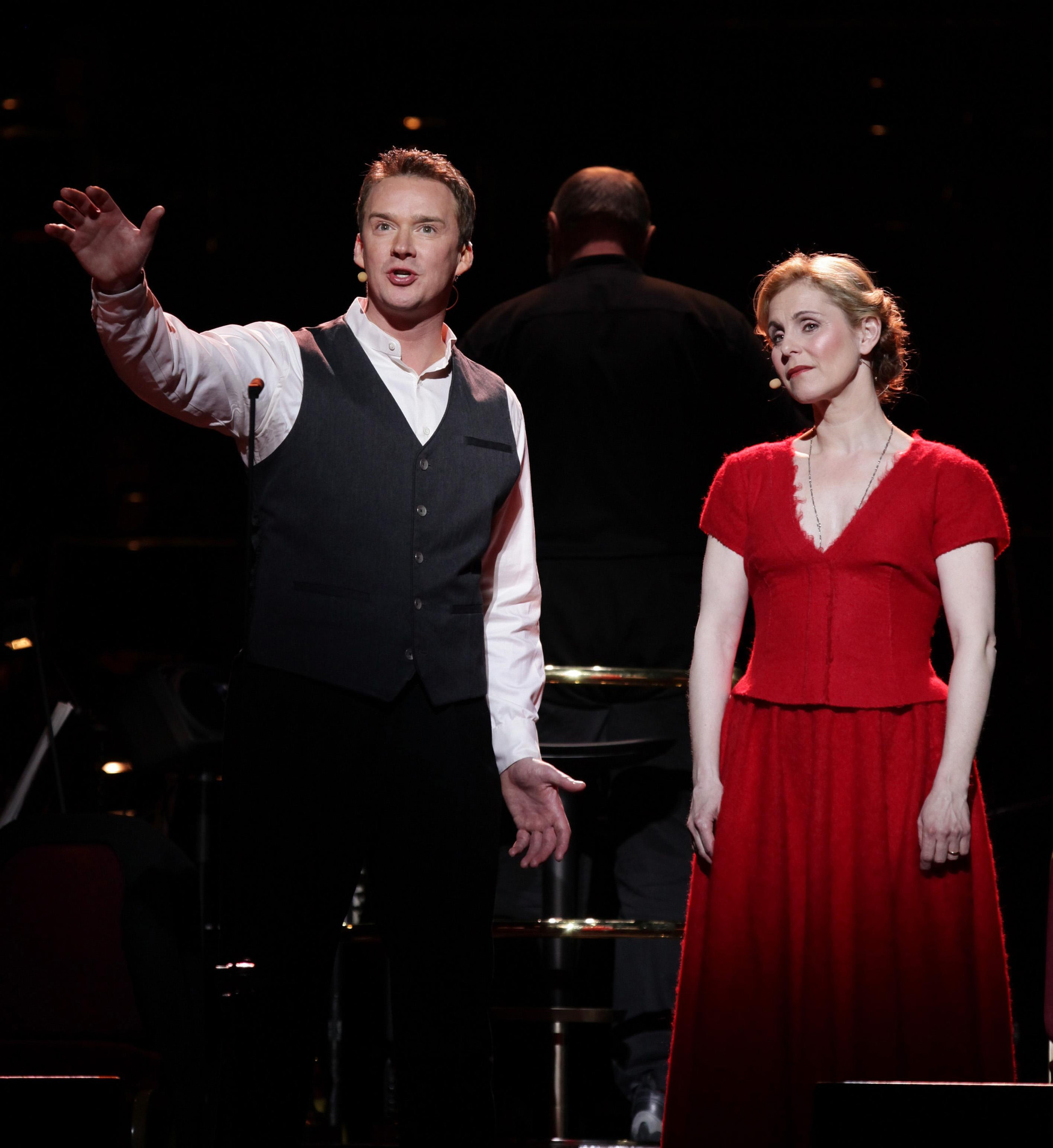 Russell Watson and Helen Sjoholm perform on stage during a rehearsal for Benny Andersson and Bjorn Ulvaeus musical 'Kristina', at the Royal Albert Hall in west London (PA)