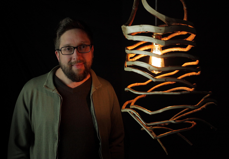 Gavin and a homegrown lamp