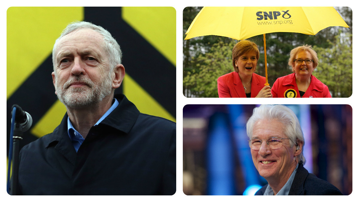 Jeremy Corbyn (left: Dan Kitwood /Getty Images); Nicola Sturgeon and Marion Fellows (top right: PA); Richard Gere (bottom right: Juan Naharro Gimenez/Getty Images)