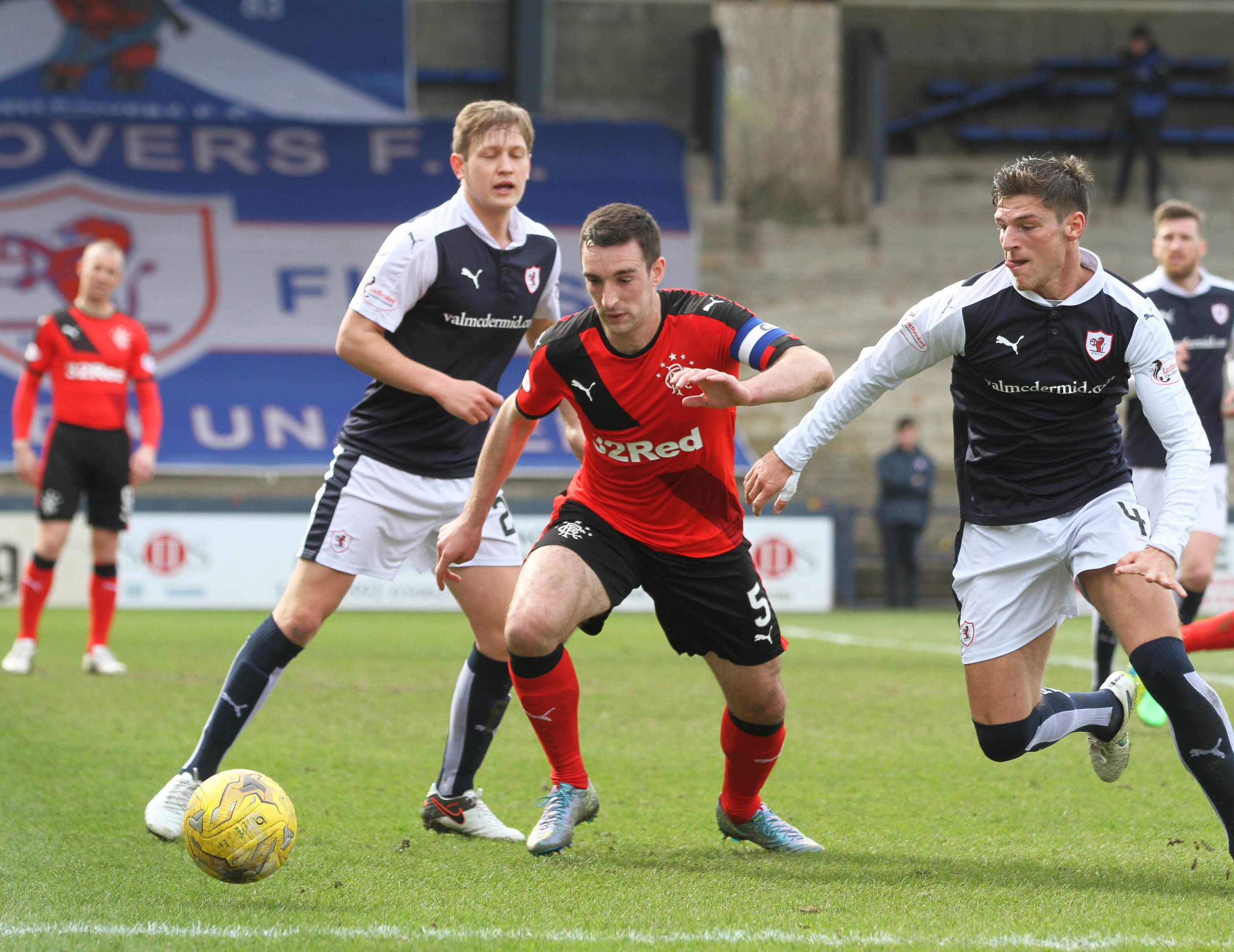 Lee Wallace eyes the ball during the Ladbrokes Championship game at Starks Park (C Austin/ DC Thomson)