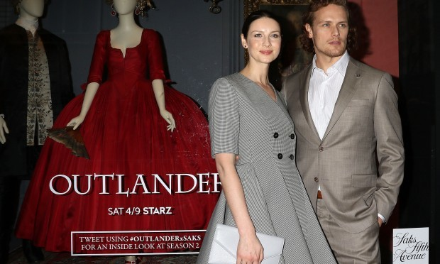 Caitriona Balfe and Sam Heughan promote the new series of Outlander in New York (Laura Cavanaugh/Getty Images)