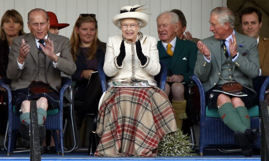 Queen Elizabeth II, Duke of Edinburgh and Prince of Wales attend the Braemar Royal Highland Gathering (PA Archive)