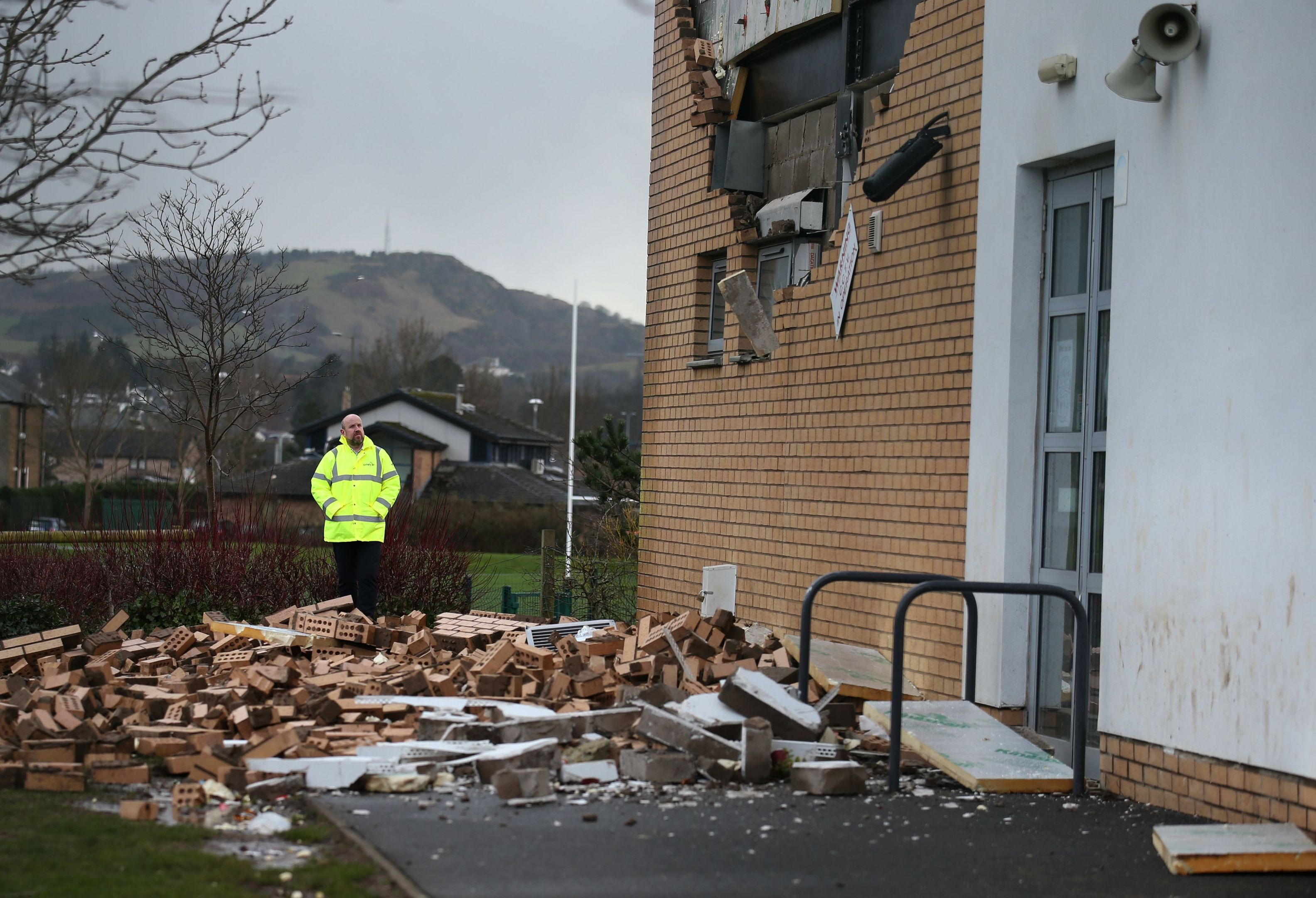 A collapsed wall at Oxgangs Primary School in Edinburgh after Storm Gertrude (Andrew Milligan / PA)