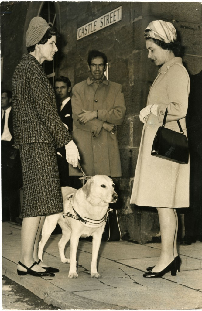 Miss May Stewart (and her dog) meets the Queen during a visit to Dundee, 1969 (DC Thomson)