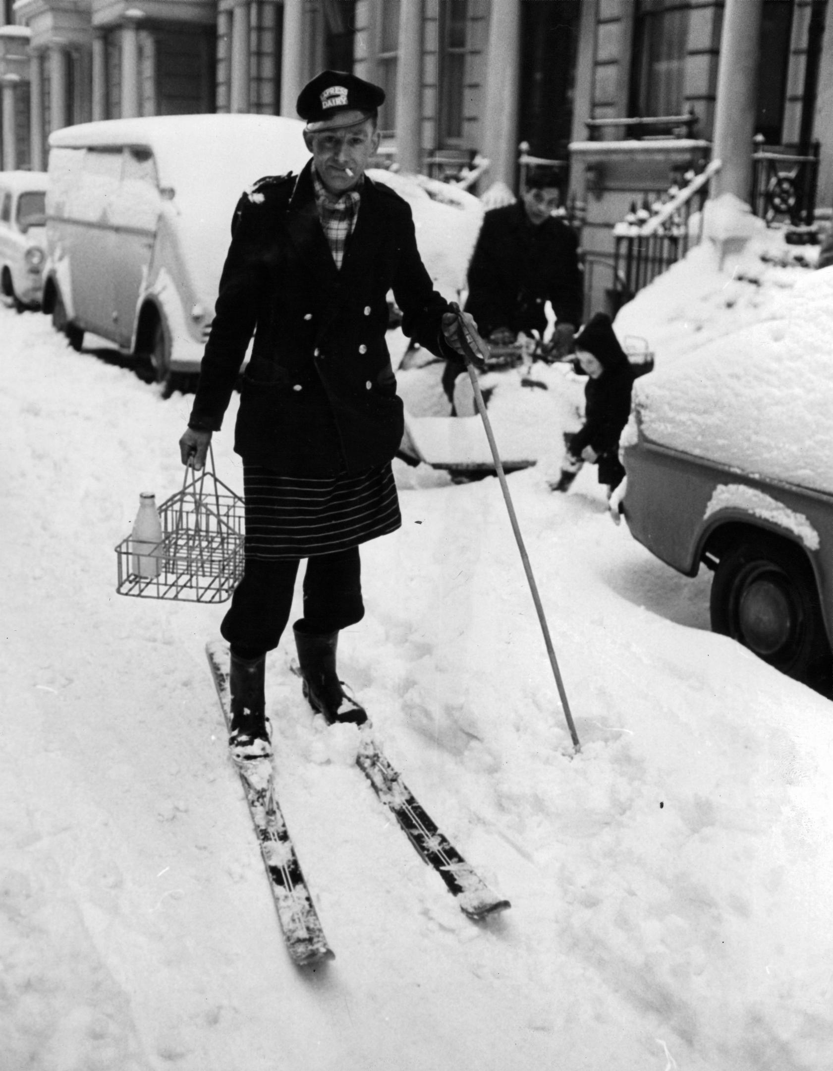 A milkman in London in December 1962 (Express/Hulton Archive/Getty Images)