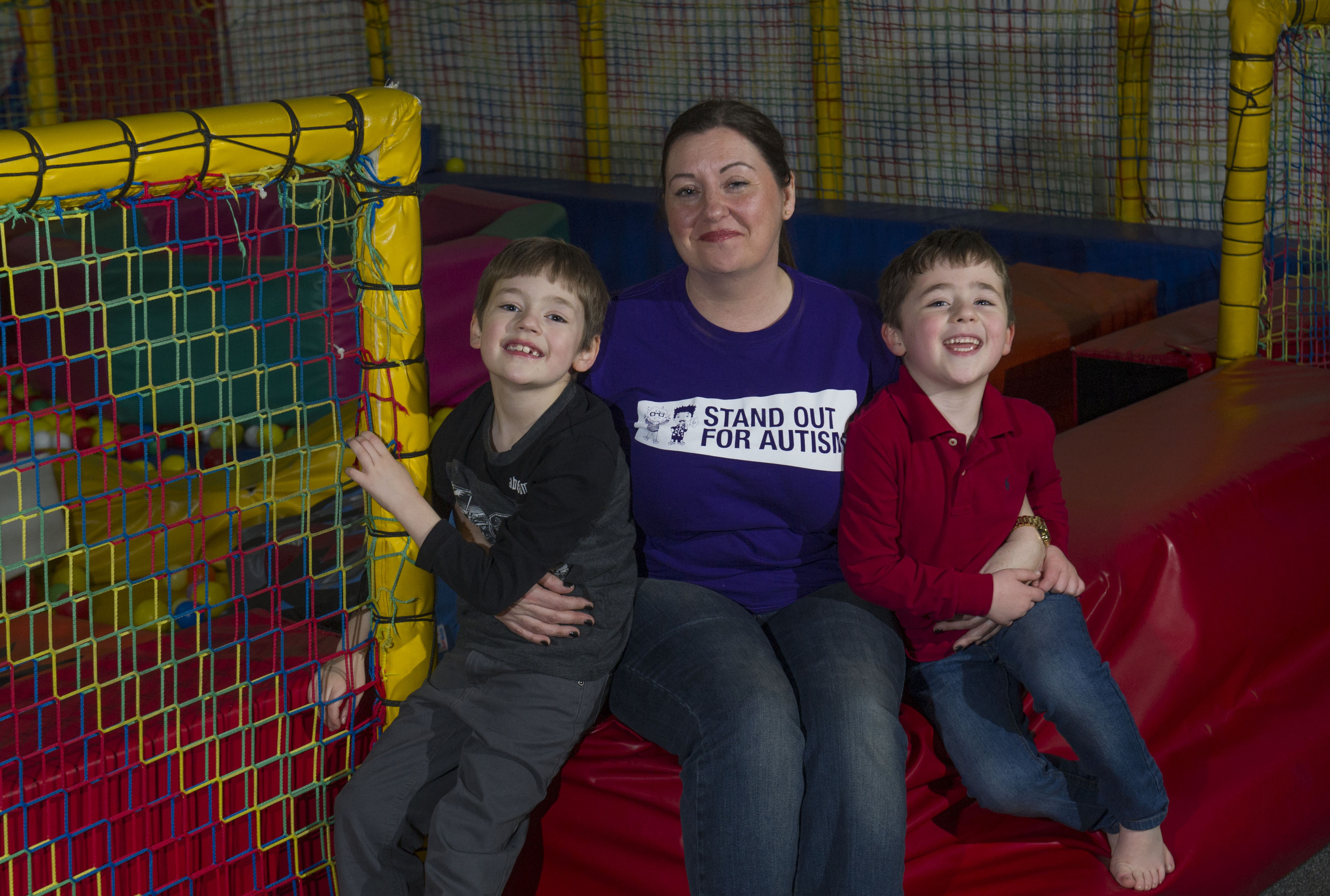 Vickie Sutherland and her sons Arran and Euan at the softplay area at Soccerworld, Dundee (Donald MacLeod)