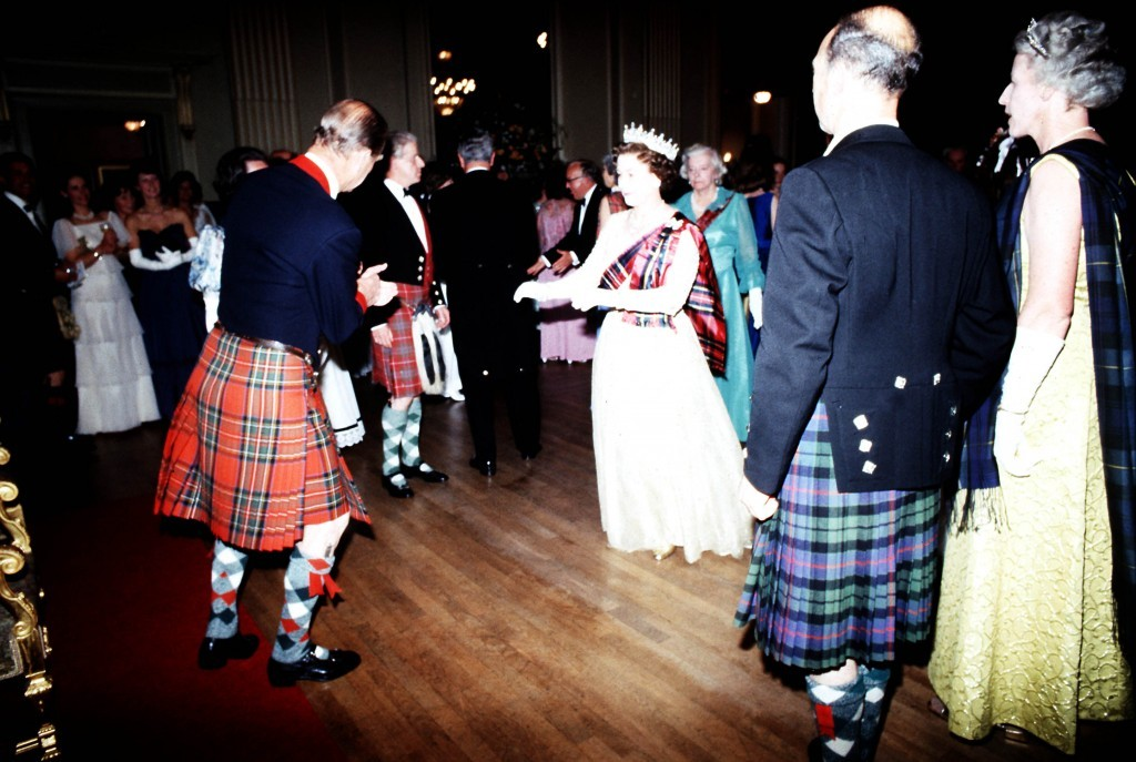 The Queen takes to the floor with the Duke of Edinburgh during a ball at the Assembly Rooms, Edinburgh (PA)