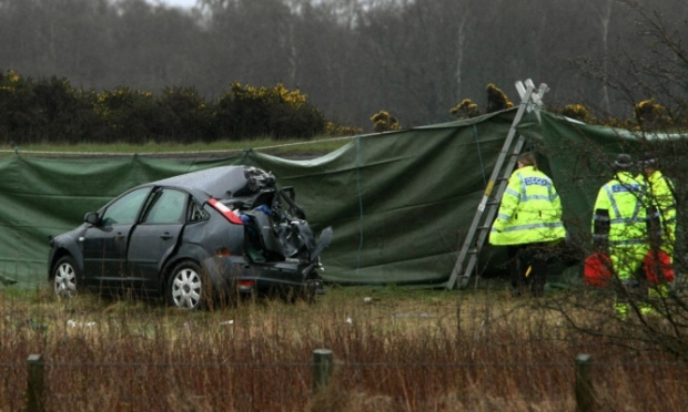 Police at the scene of the collision on the A92 near the Redhouse roundabout (DC Thomson / Dougie Nicolson)
