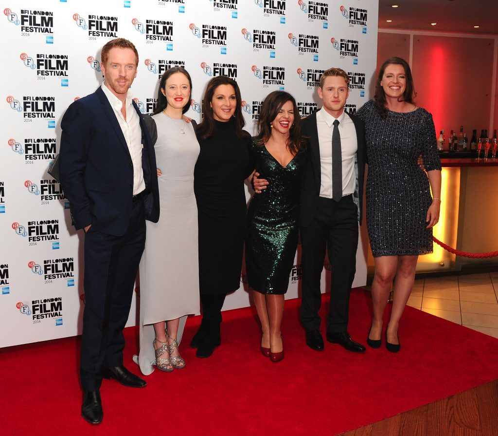 Damian Lewis, Andrea Riseborough, Barbara Broccoli, Corinna McFarlane, Ross Anderson and Nicky Bentham on the red carpet (Stuart C. Wilson/Getty Images for BFI)