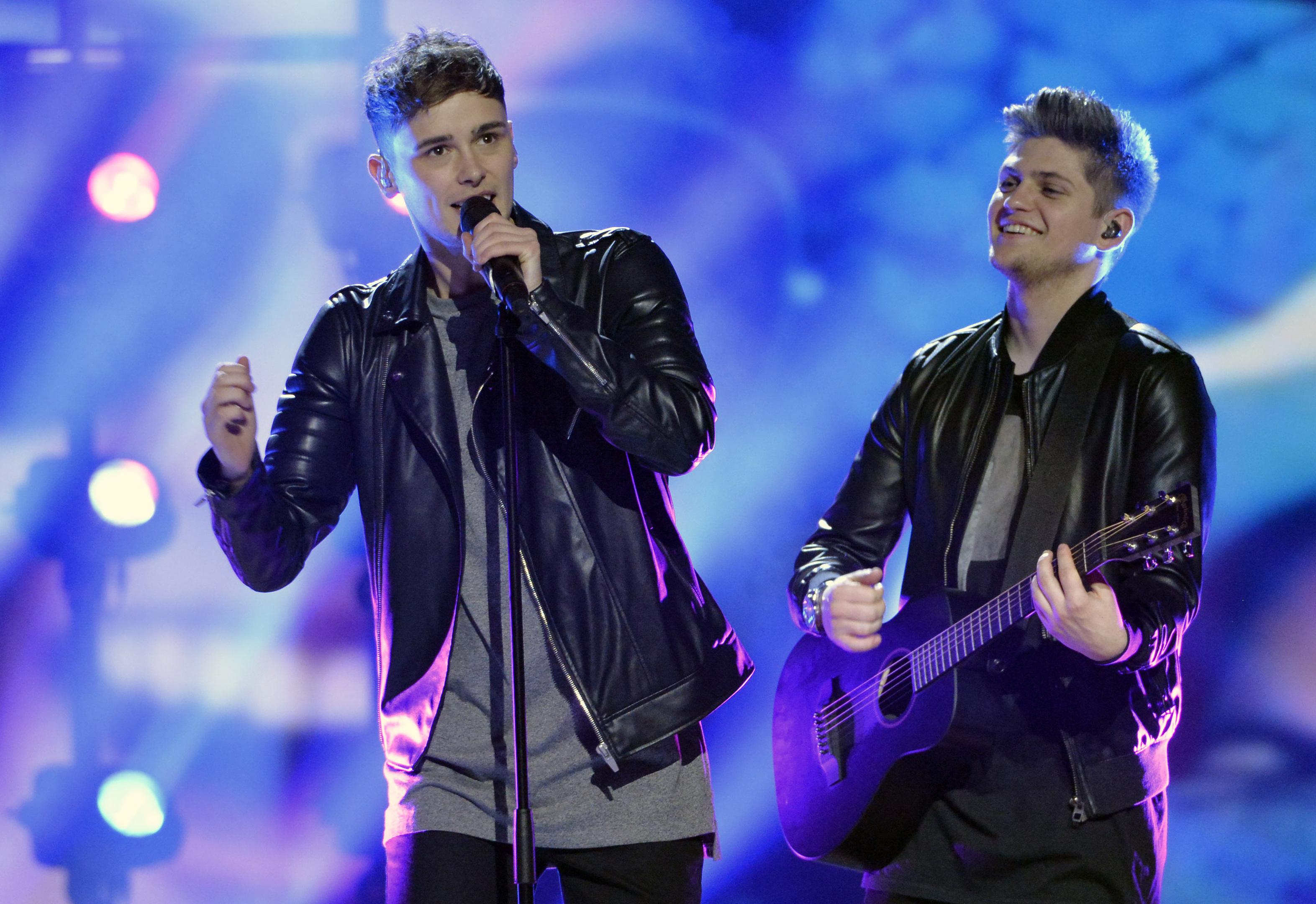 Joe and Jake rehearse ahead of Eurovision (Jonas Ekstromer/TT via AP)
