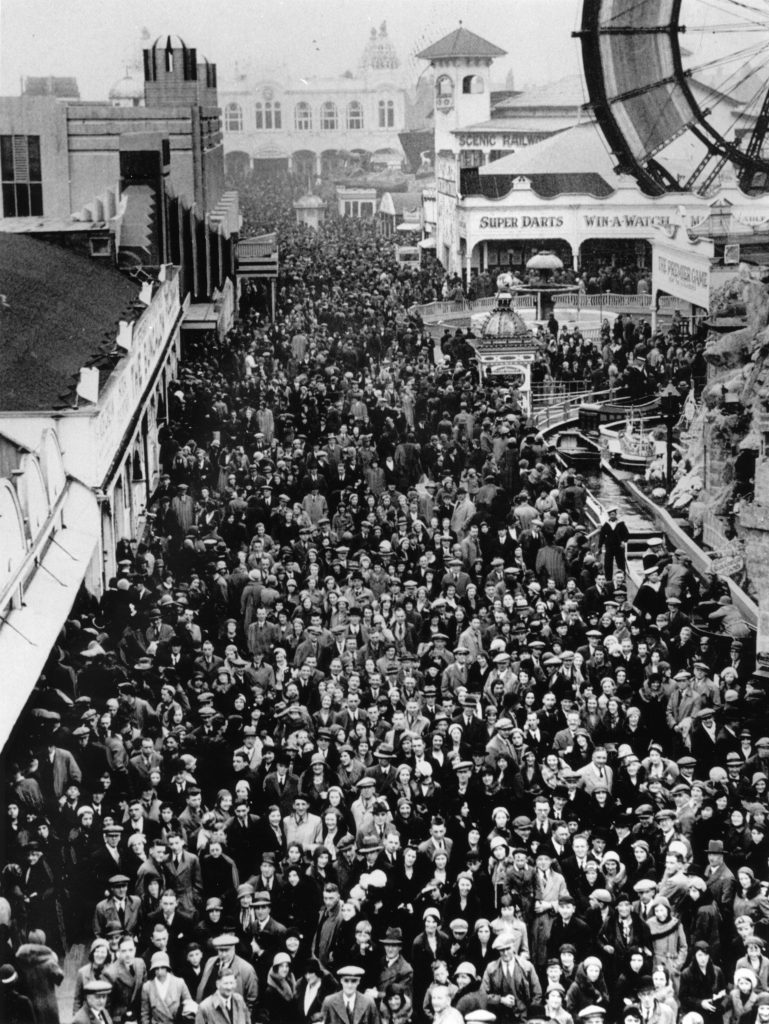 1933: Crowds flocked from all over Britain to enjoy Blackpool's amusements.