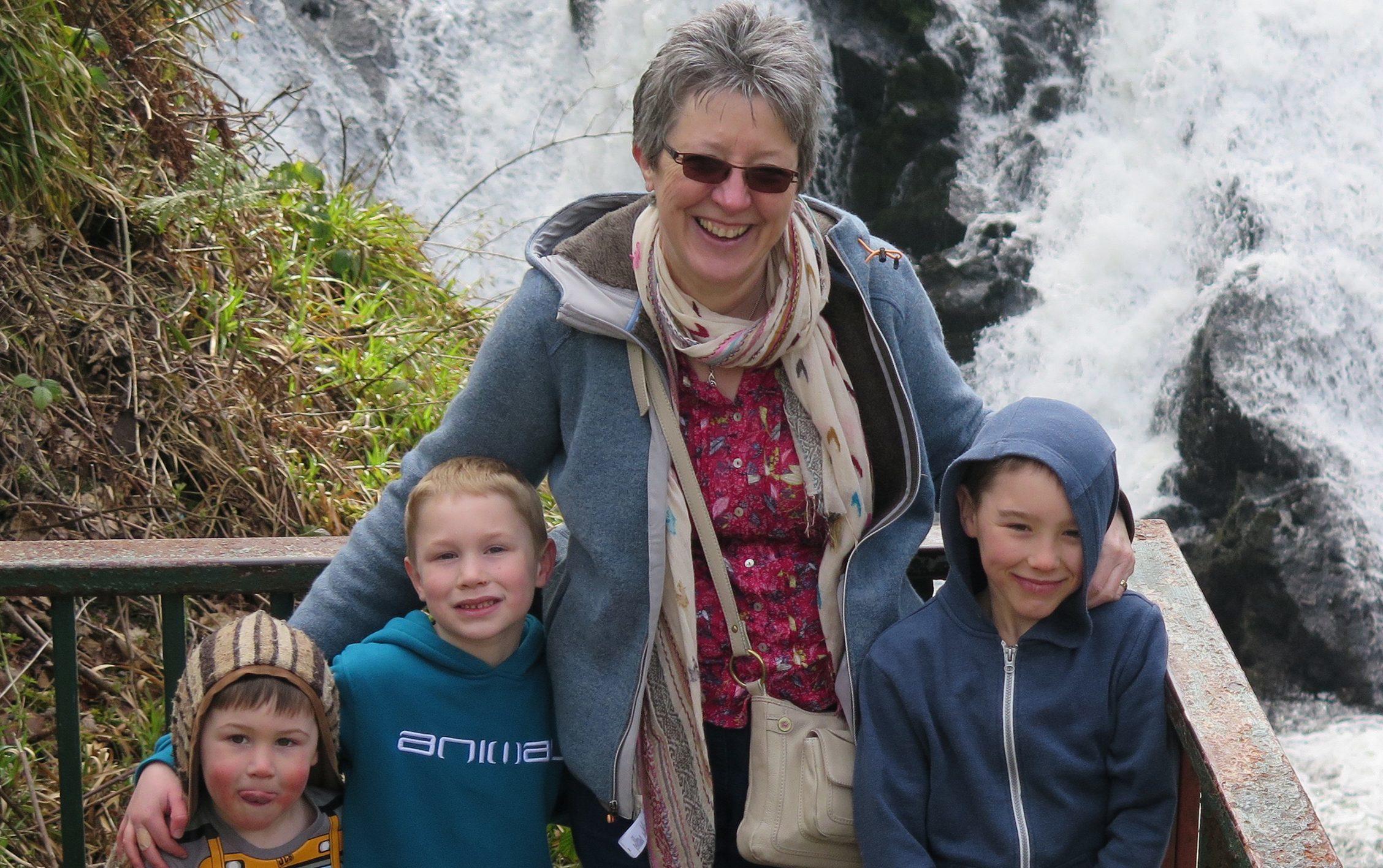 Helen Bate with her grandchildren