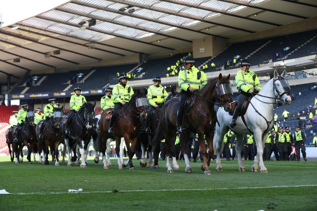 Mounted police at Hampden (Ian MacNicol/Getty)