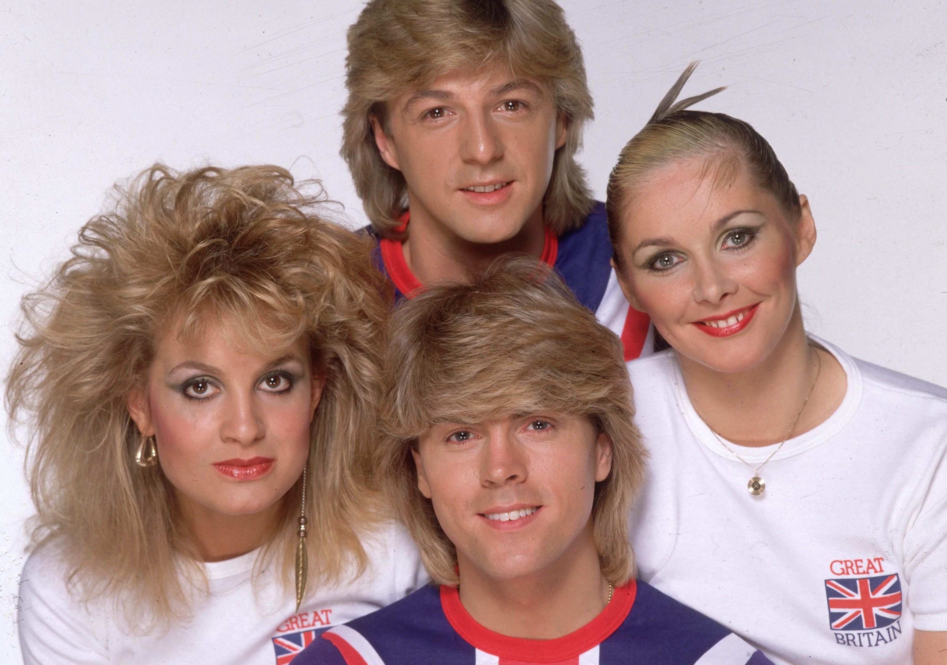 British pop group Bucks Fizz, (clockwise from top) Bobby G, Cheryl Baker, Mike Nolan and Jay Aston (Photo by Hulton Archive/Getty Images)