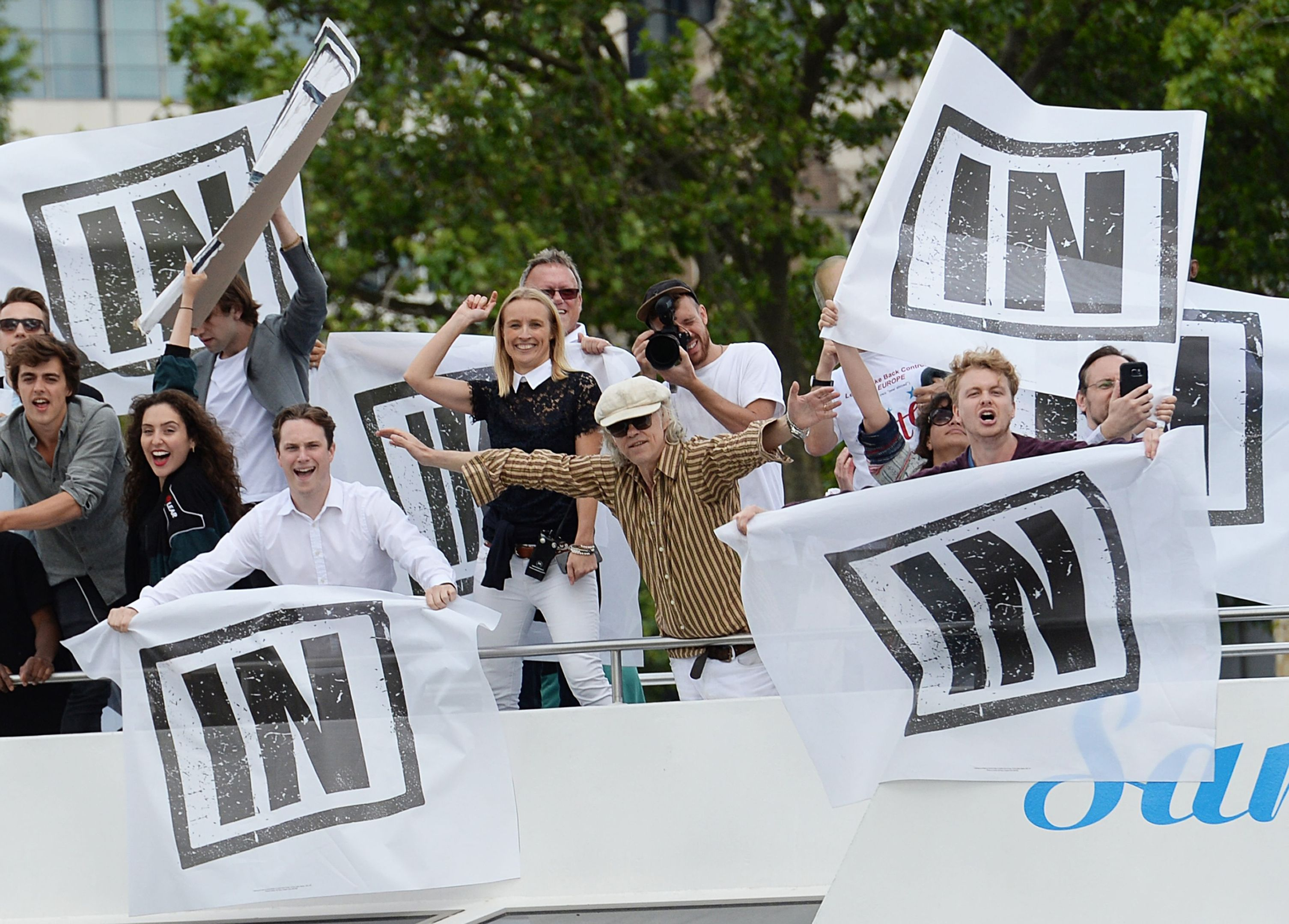 """Bob Geldof on board a boat taking part in a pro-EU counter demonstration, as a Fishing for Leave pro-Brexit """"flotilla"""" makes its way along the River Thames (Stefan Rousseau/PA Wire)"""