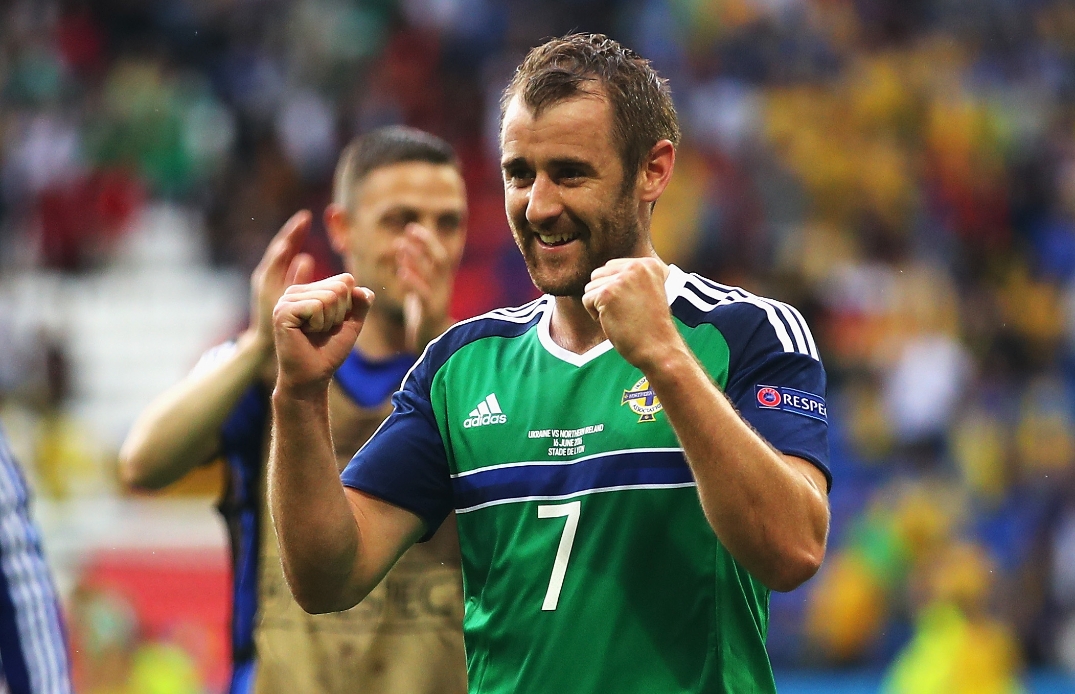 Niall McGinn celebrates his team's 2-0 over Ukraine (Clive Brunskill/Getty Images)