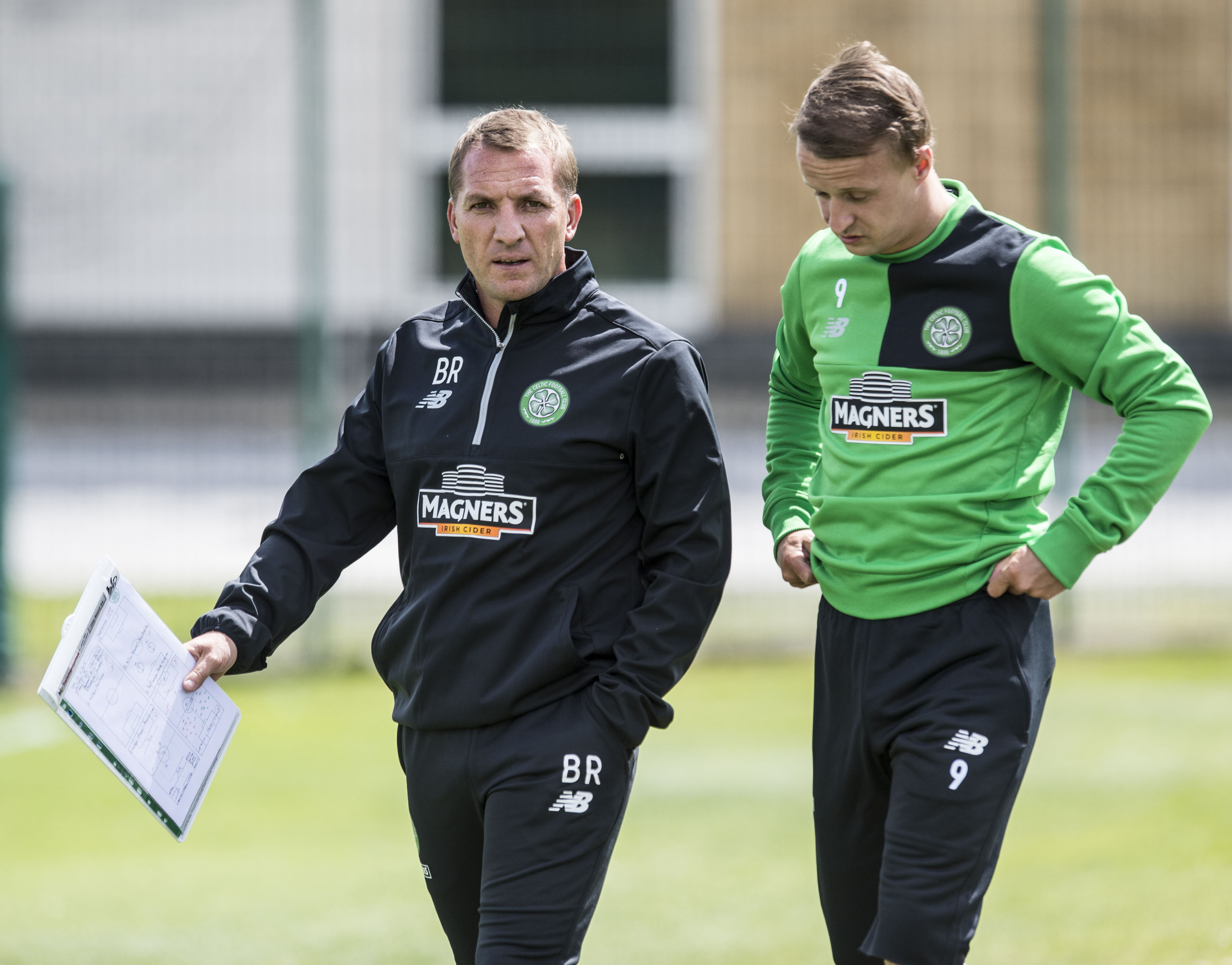 Celtic manager Brendan Rodgers (left) with Leigh Griffiths (SNS Group / Craig Williamson)
