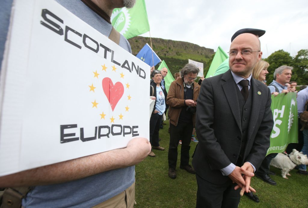 Scottish Green Party co-convener Patrick Harvie attends a demonstration outside the Scottish Parliament (Andrew Milligan/PA Wire)
