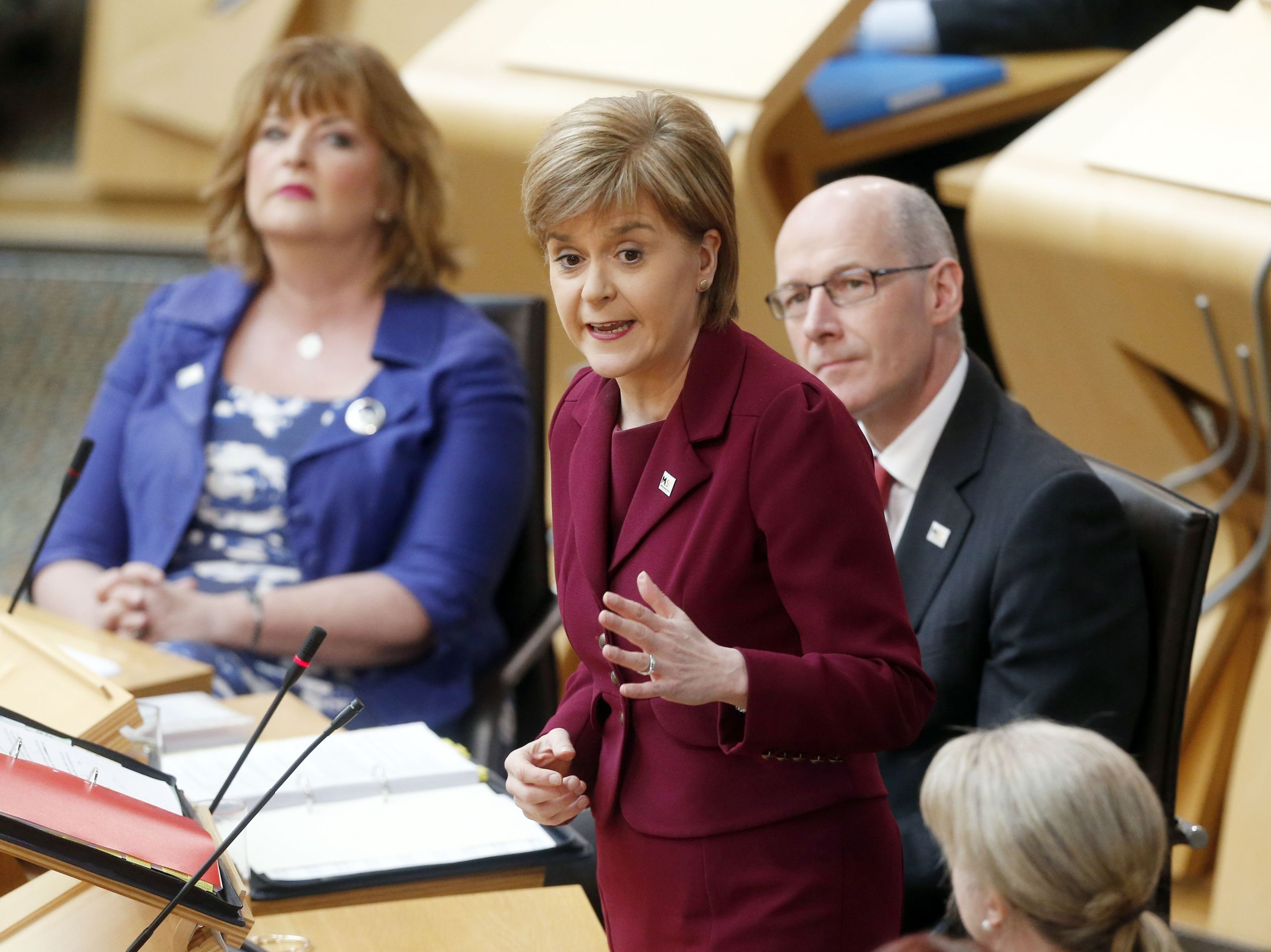 First Minister Nicola Sturgeon during First Minister's Questions at the Scottish Parliament in Edinburgh (Danny Lawson/PA)