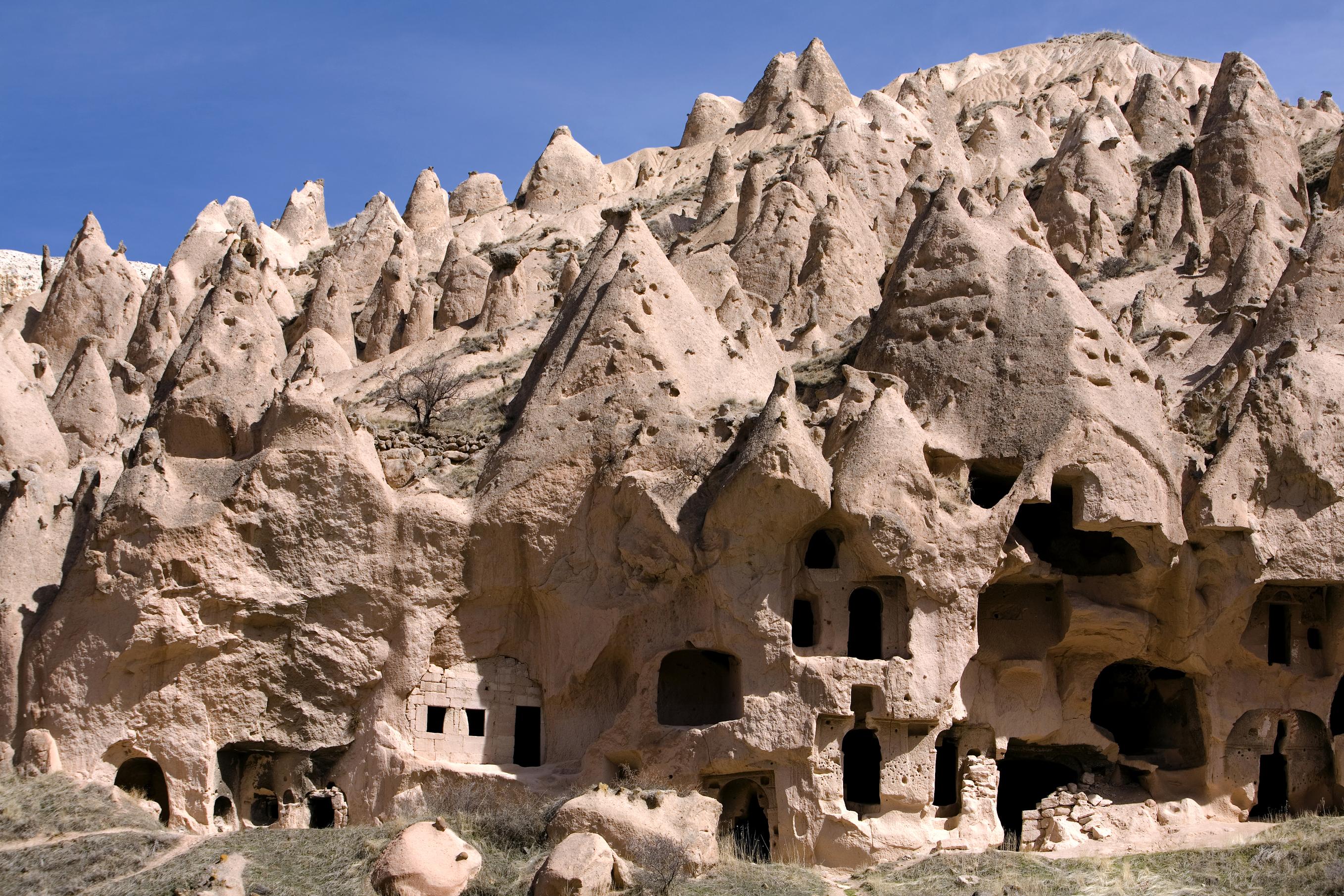 Ancient cavetown near Goreme, Cappadocia, Turkey (Getty Images/iStock)