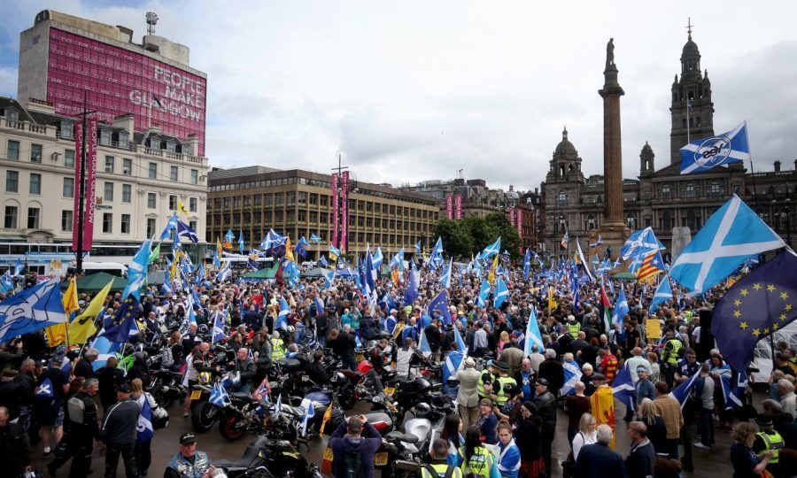 Thousands of people take part in the 'All Under One Banner' march for Scottish independence through Glasgow city centre (PA)
