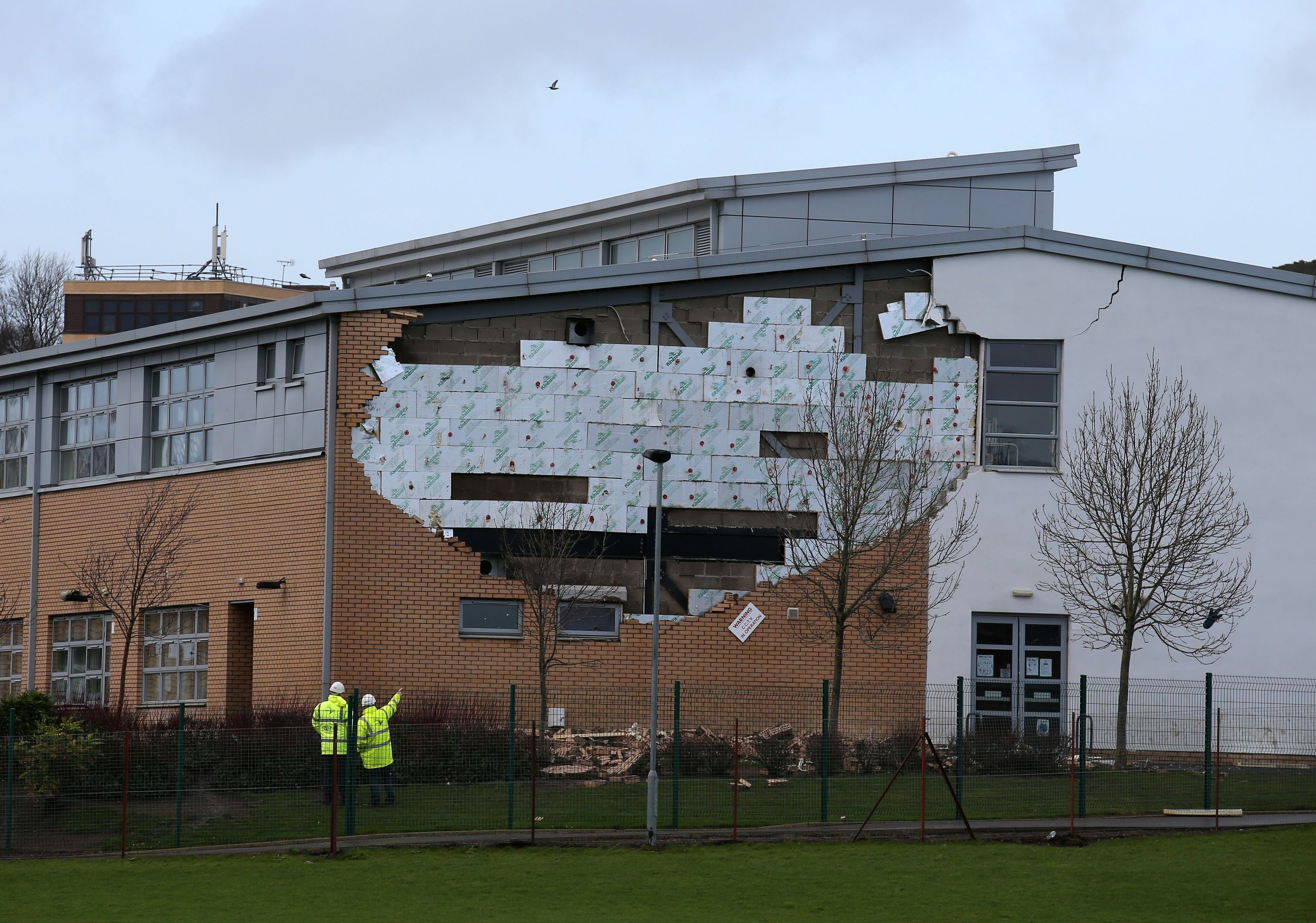 A collapsed wall at Oxgangs Primary School in Edinburgh