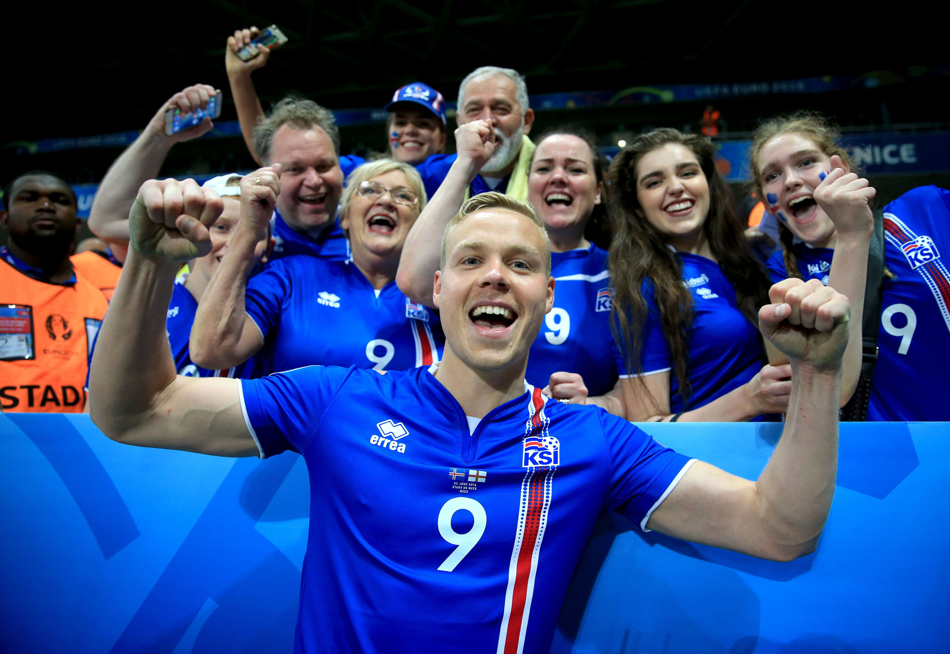 Iceland's Kolbeinn Sigthorsson celebrates victory with fans (Nick Potts/PA Wire)