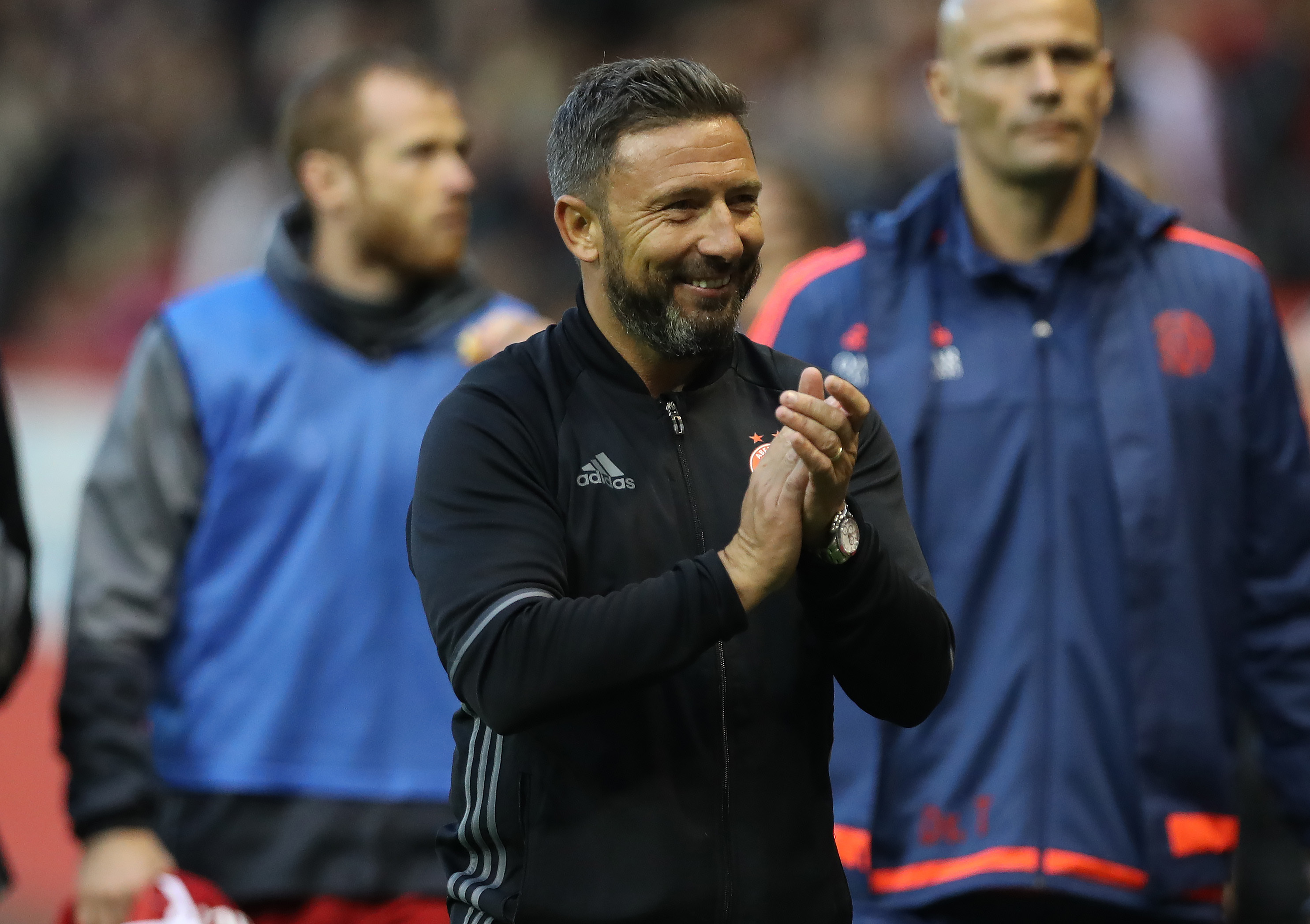 Aberdeen manager Derek McInnes celebrates at full time (Ian MacNicol/Getty Images)
