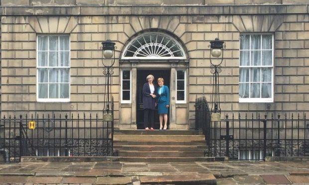 Theresa May meets Nicola Sturgeon at Bute House