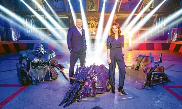 WARNING: Embargoed for publication until 00:00:01 on 07/07/2016 - Programme Name: Robot Wars - TX: n/a - Episode: n/a (No. n/a) - Picture Shows: Presenters and House Robots (l-r) Sir Killalot, Dara O Briain, Matilda, Angela Scanlon, Shunt - (C) Mentorn Media Scotland - Photographer: Alan Peebles
