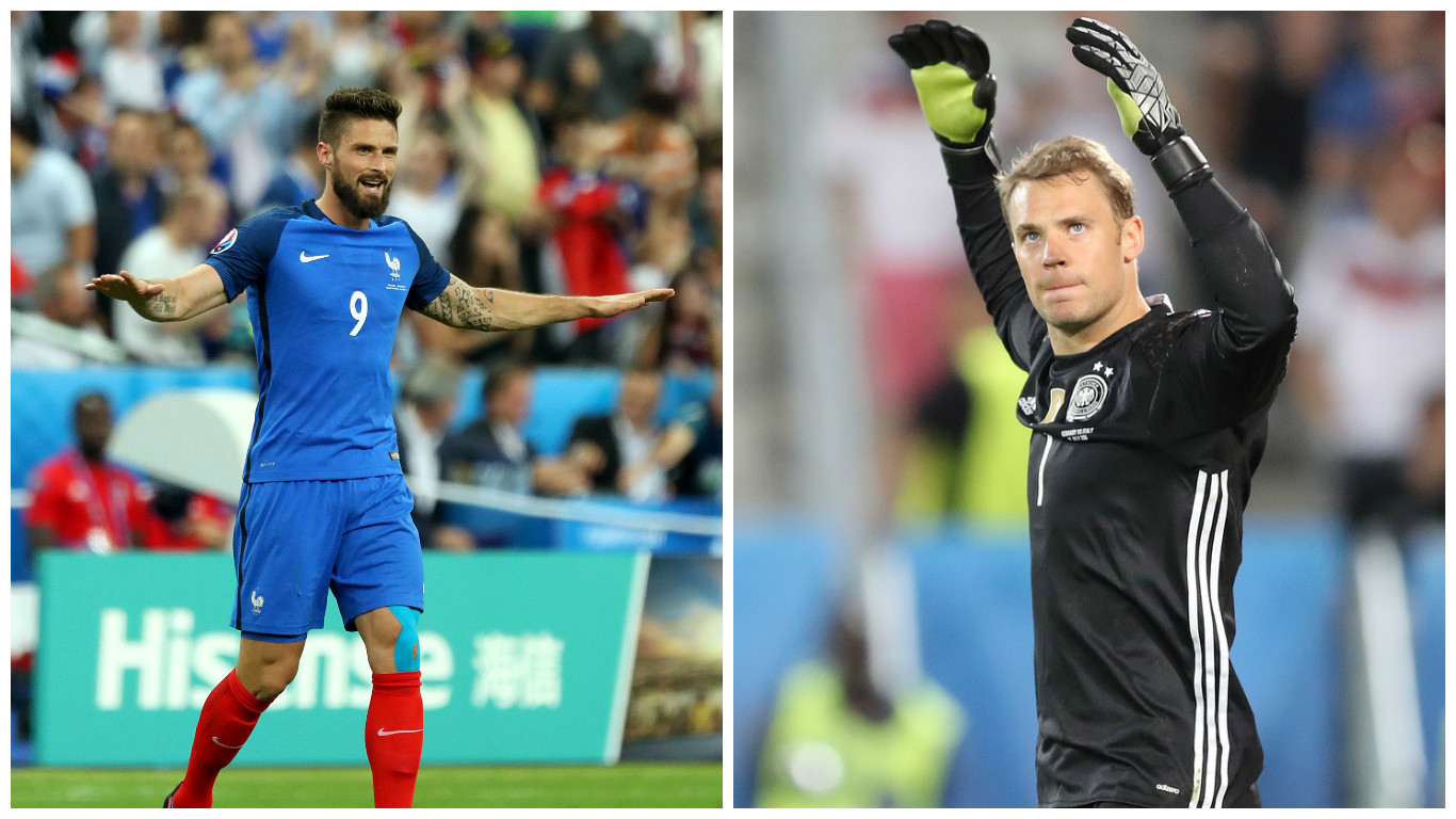 Olivier Giroud (L) will be hoping to find a way past German keeper Manuel Neuer (Chris Radburn/PA Wire & AP Photo/Thanassis Stavrakis)