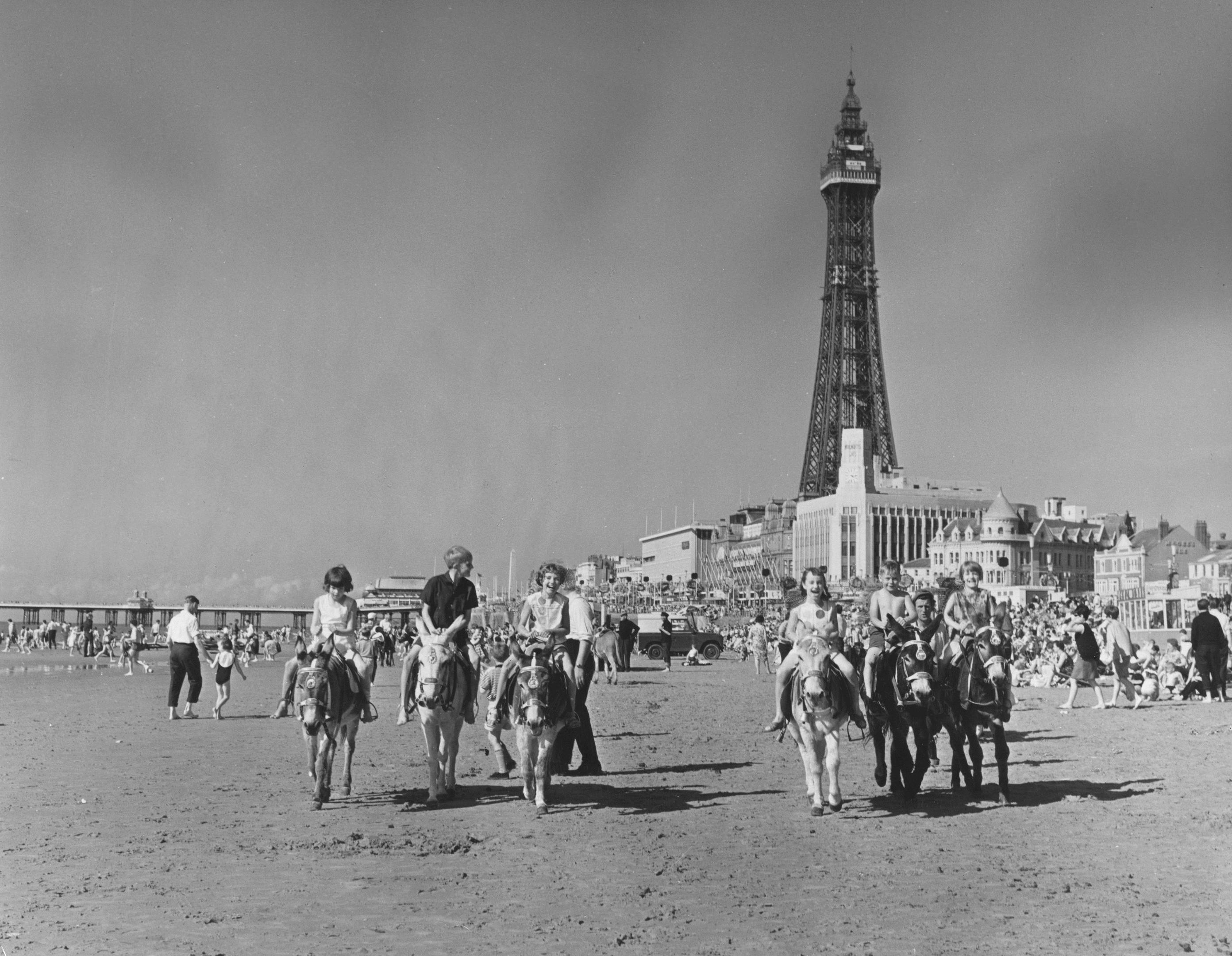 A busy Blackpool beach, 1965 (George Freston/Fox Photos/Getty Images)